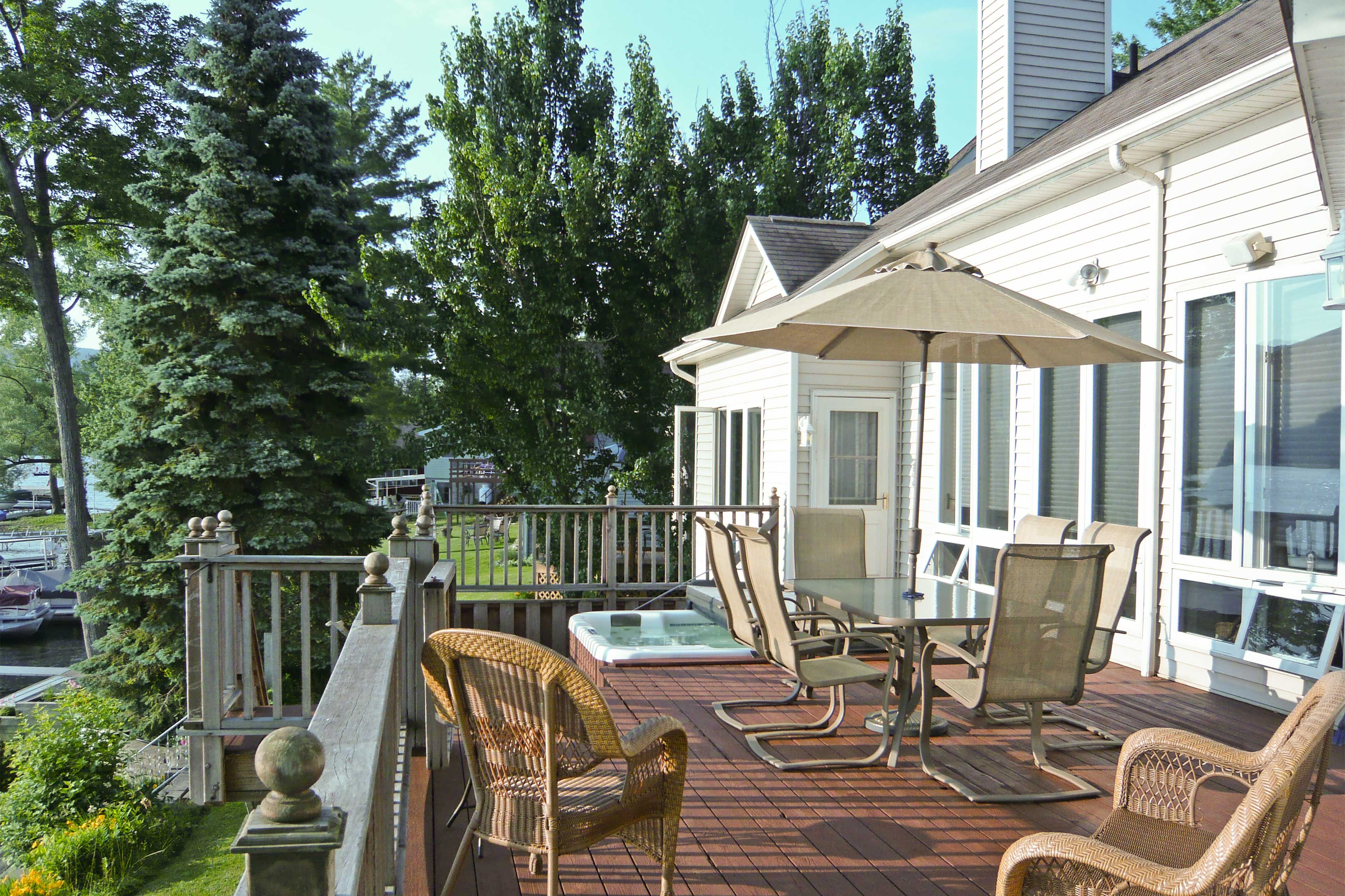 Enjoy the luxury of your private balcony, hot tub, dock, game room, and more!