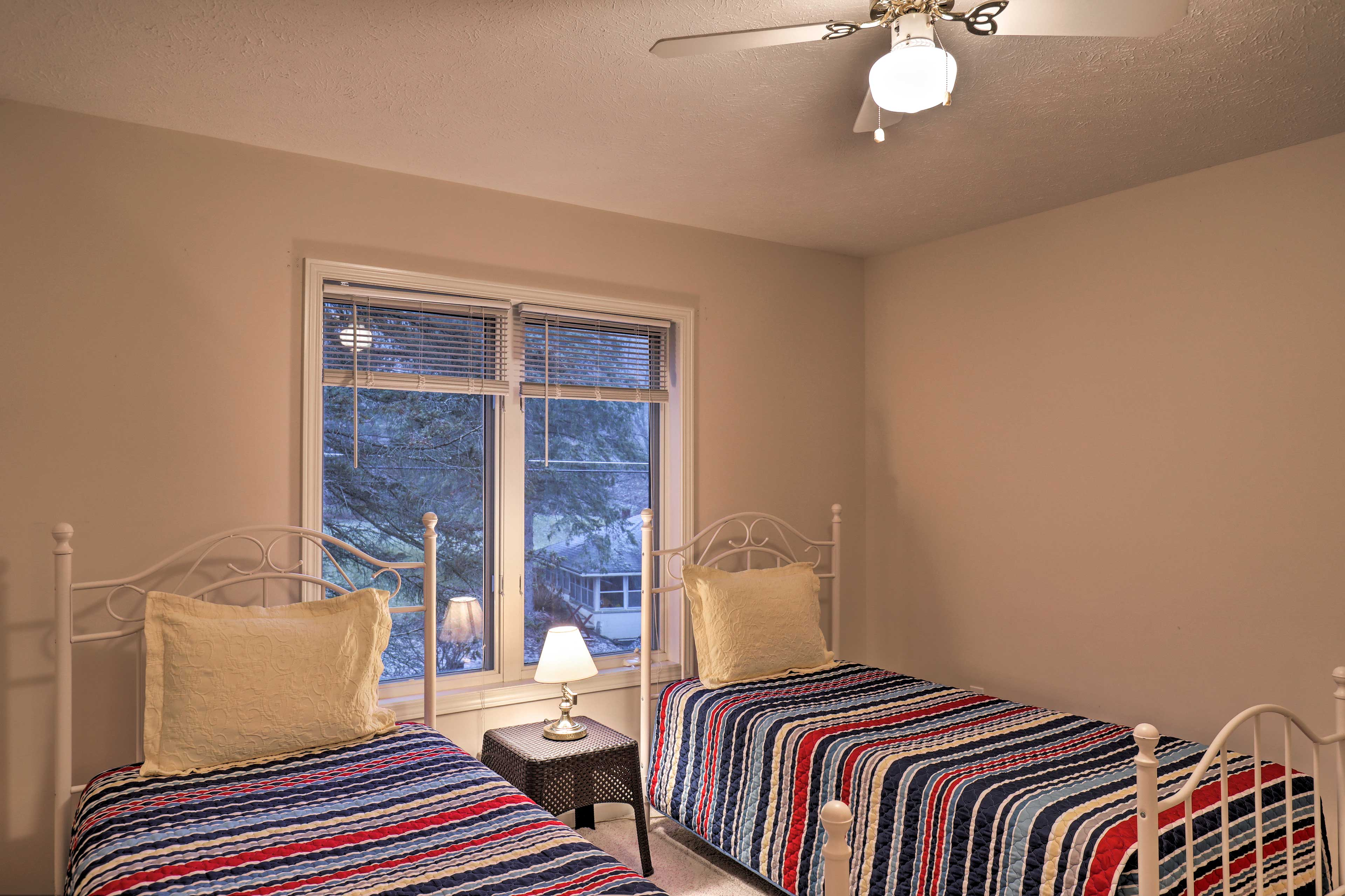 The twin beds in the 4th room are perfect for any kids or singles in your crew.