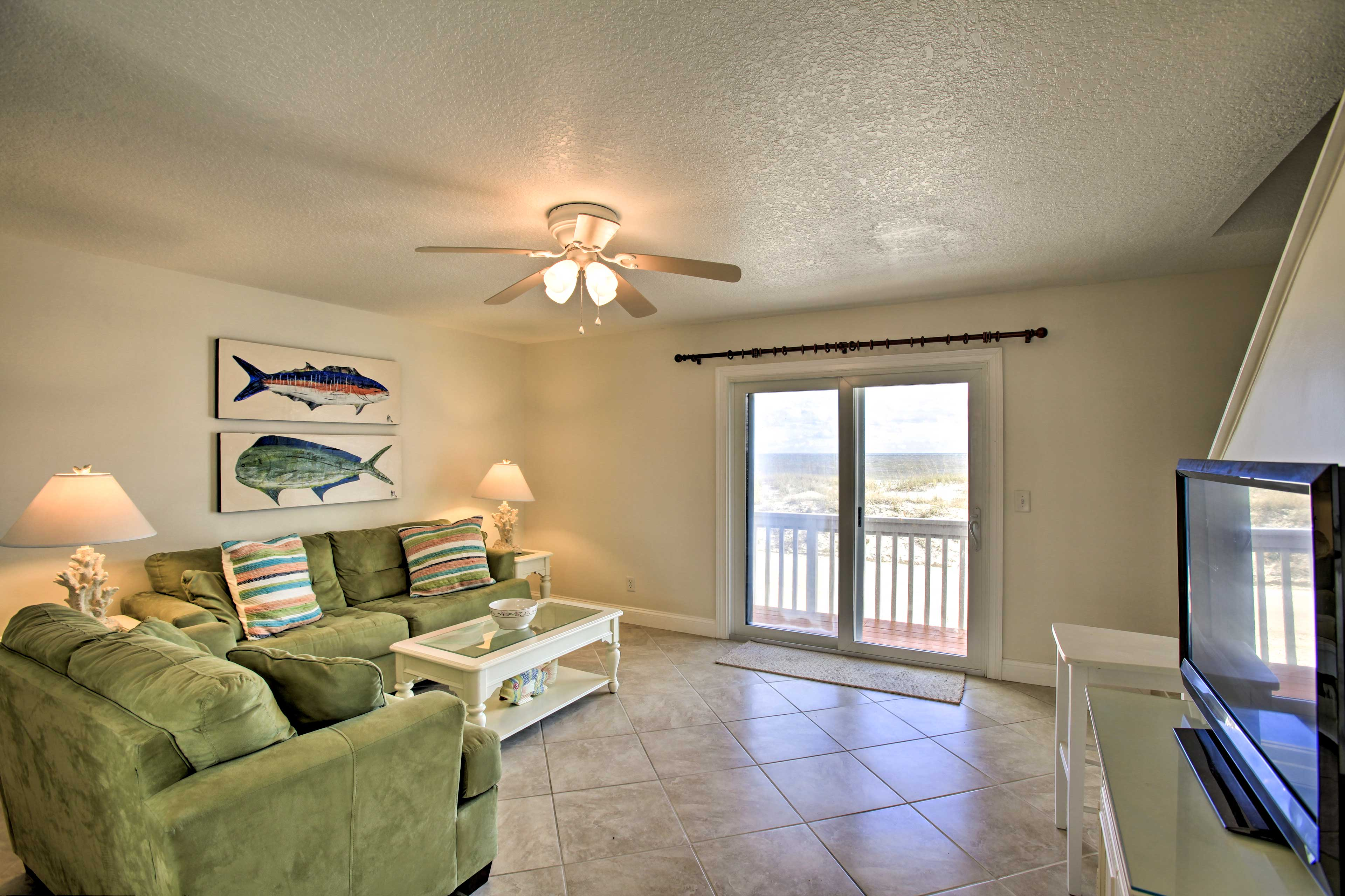 Up to 4 guests can lounge throughout 1,064 square feet of living space.