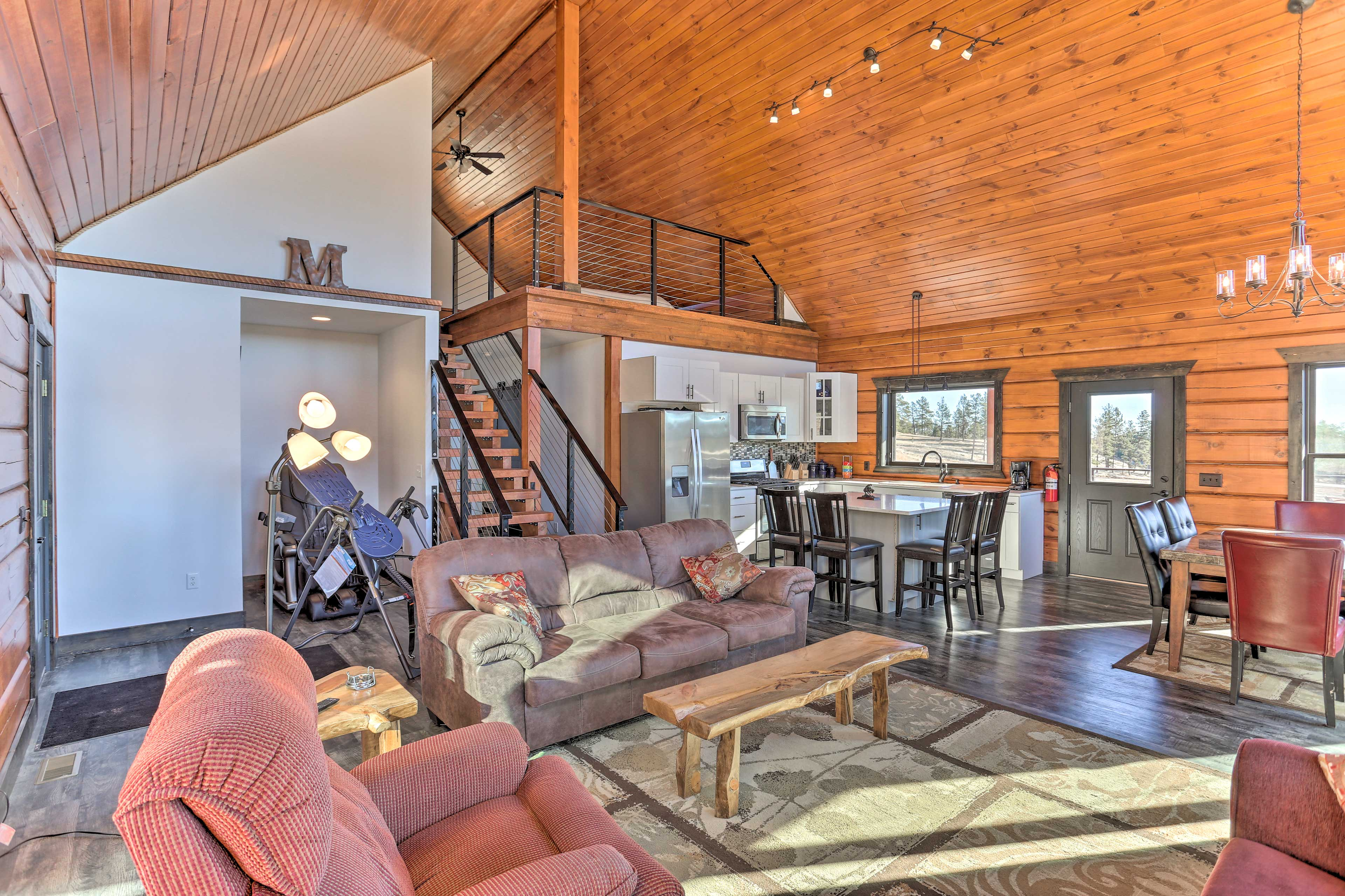 Soak in the panoramic views from the array of seating in the living space.