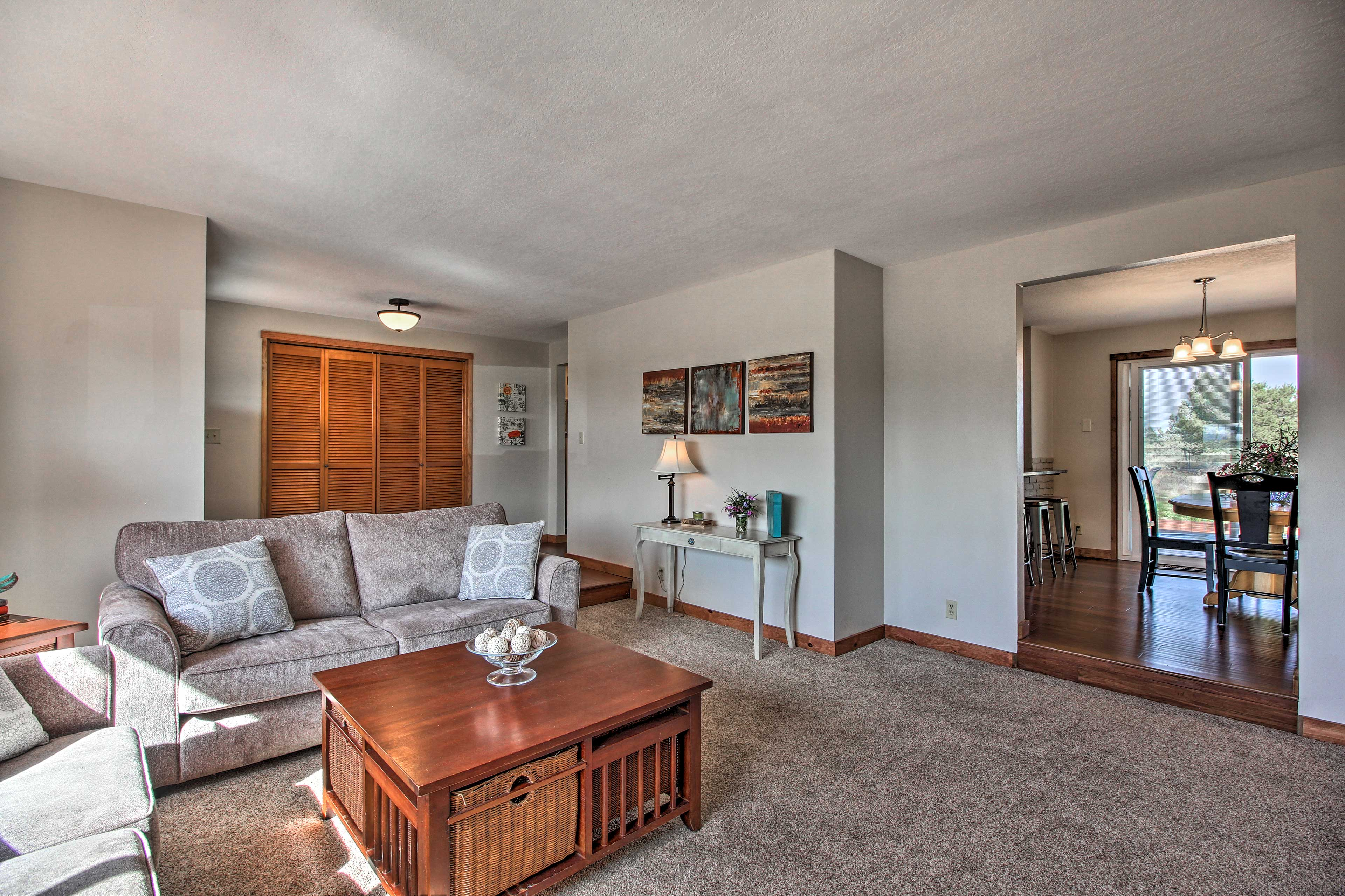 The home is filled with contemporary furnishings and decor.