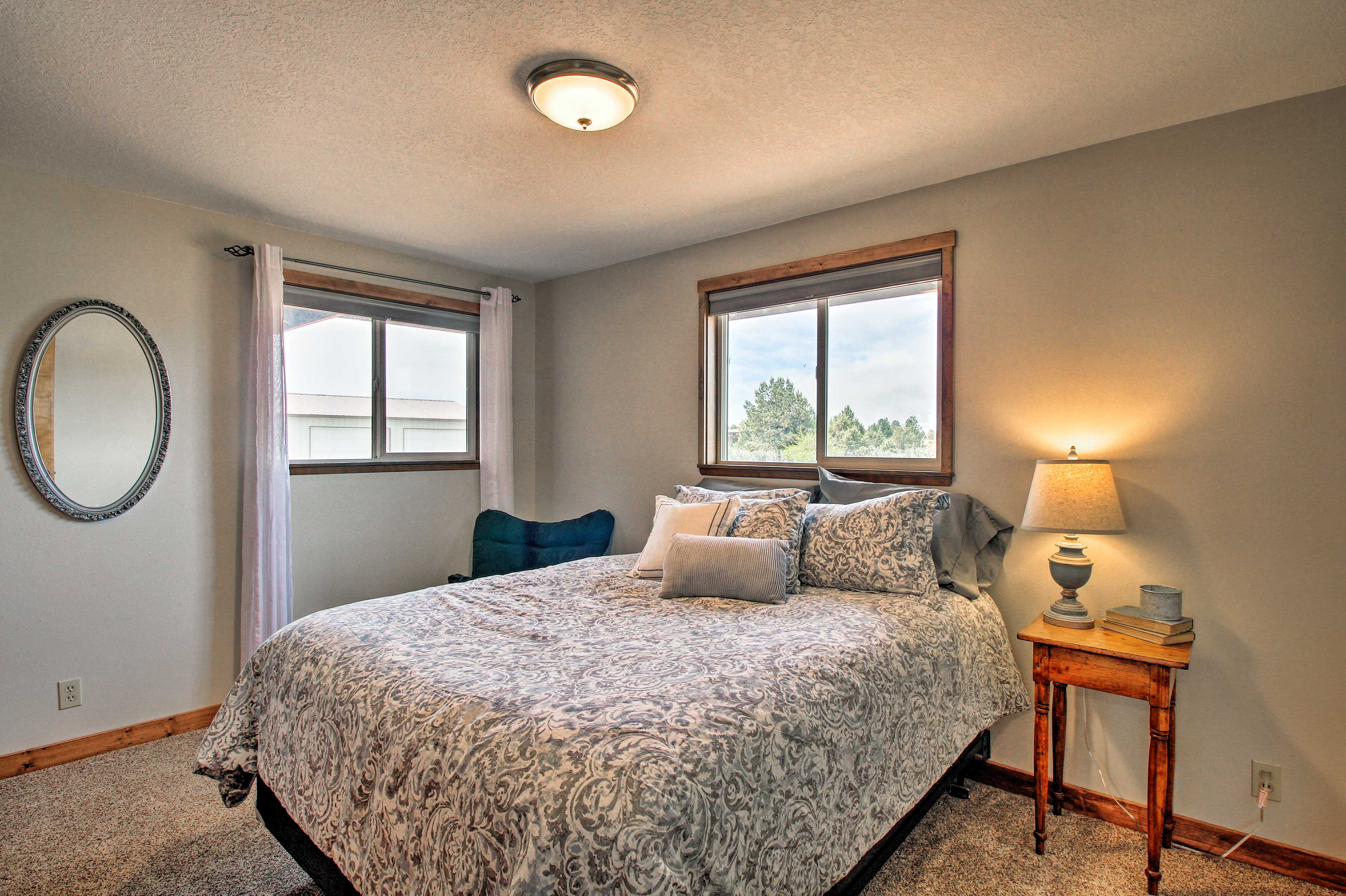 The second bedroom also offers a queen-sized bed.