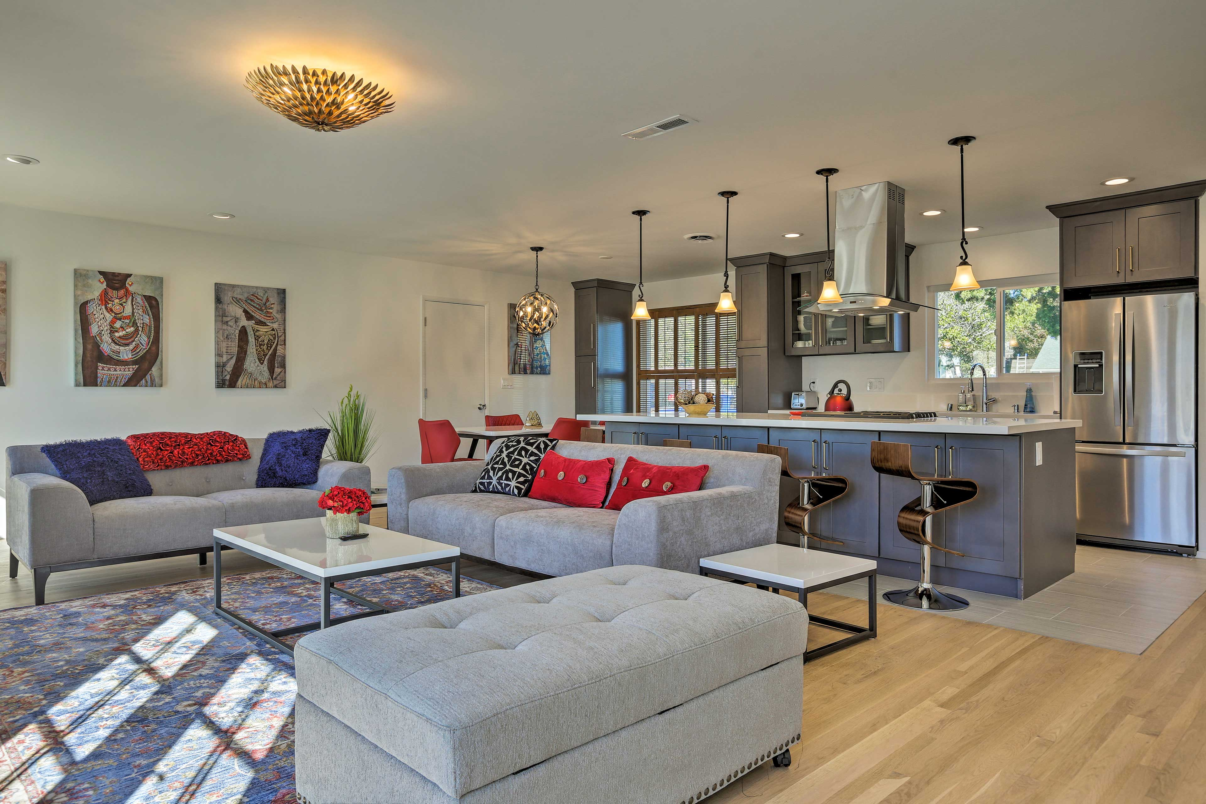 Modern decor and bright pops of color make this vacation rental home stand out!