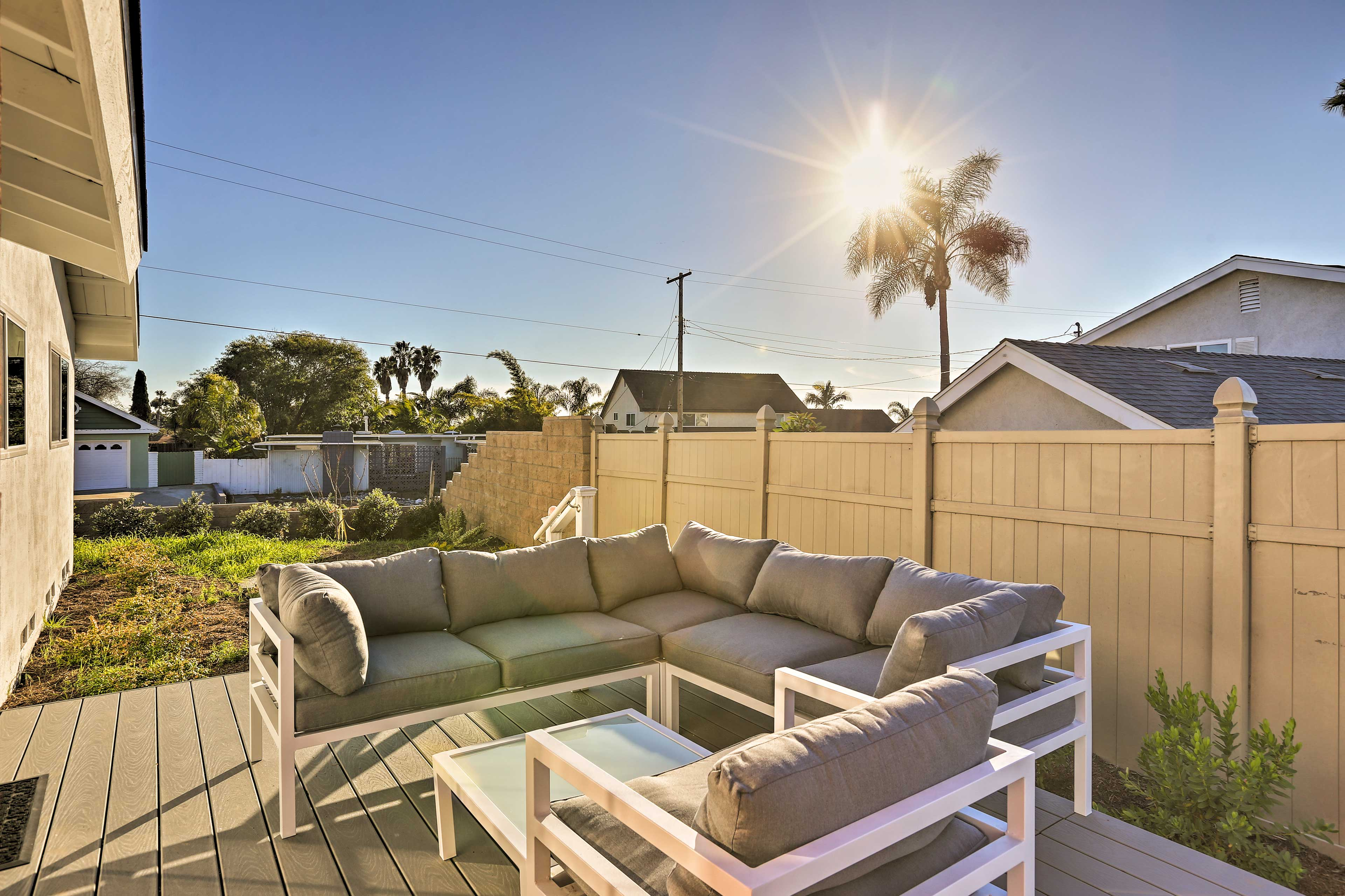 The backyard features a great patio!