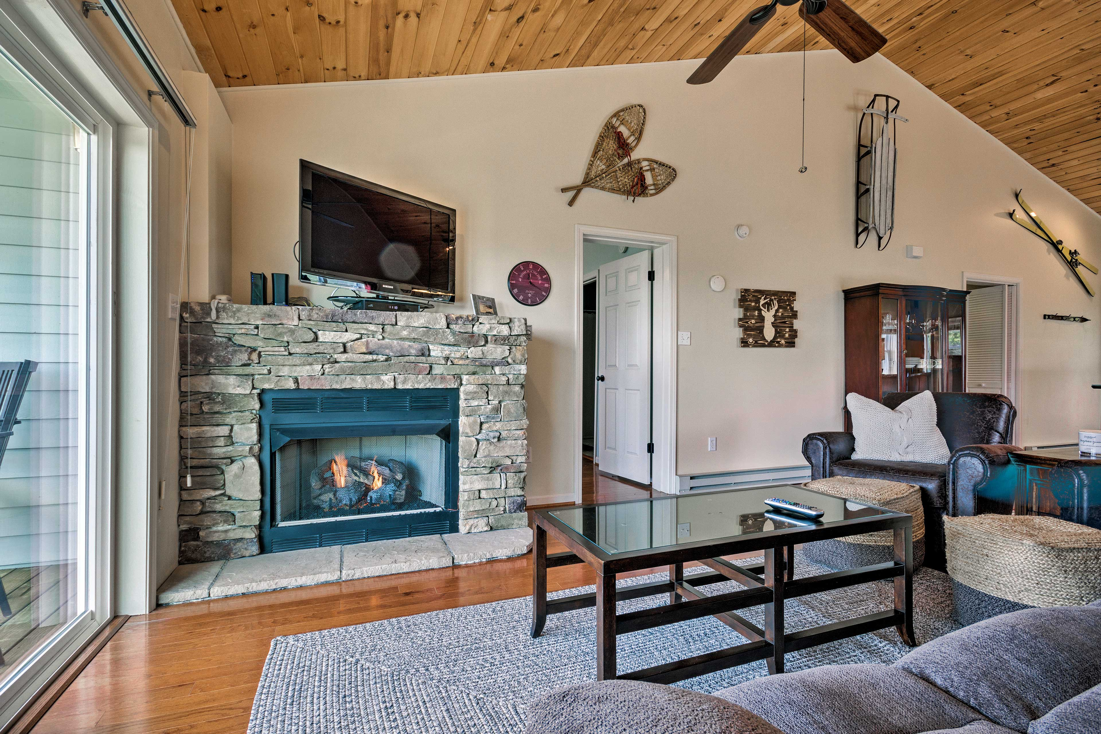 This second-floor unit features a fireplace and cable TV.