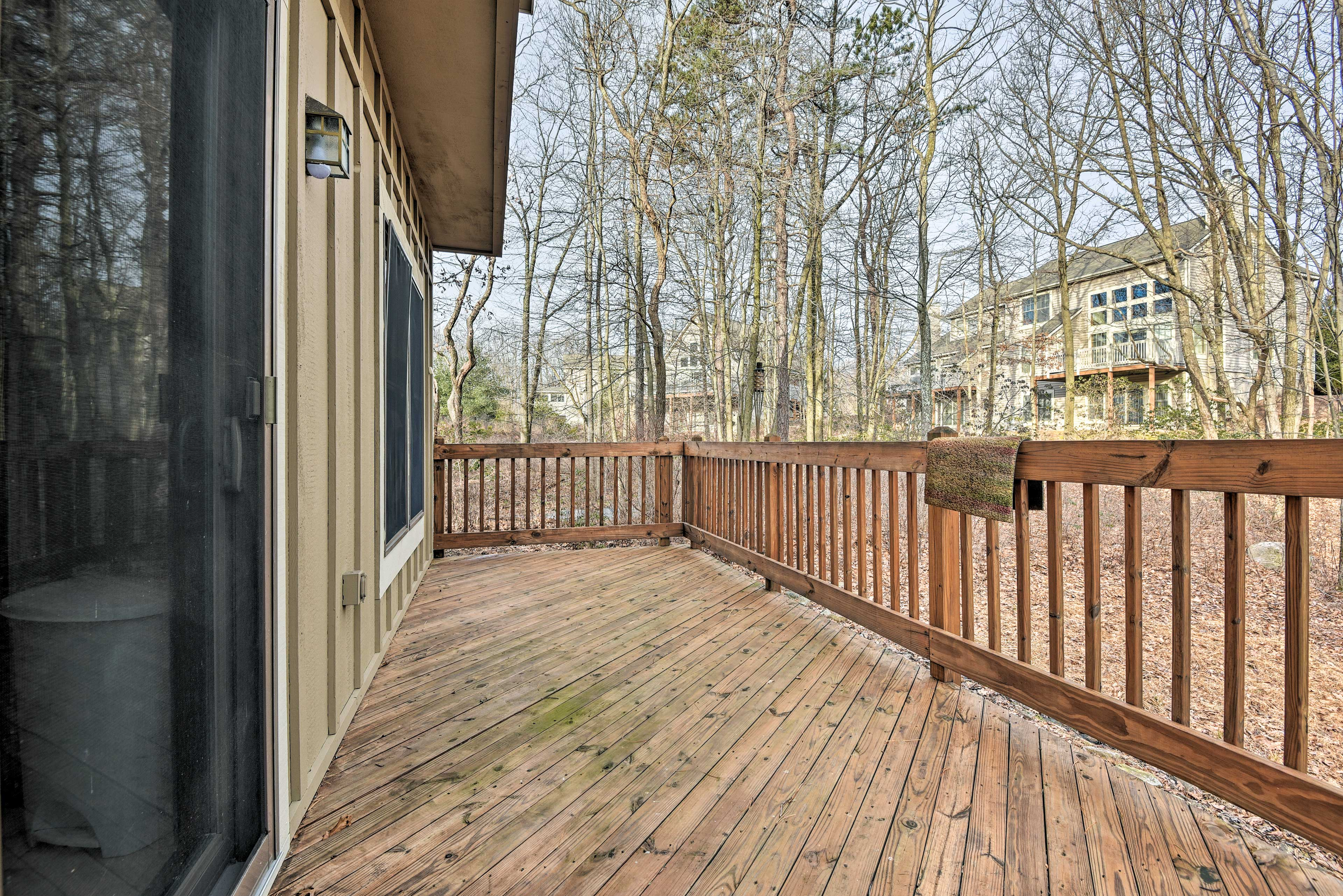 Step onto the back deck and watch for wildlife roaming around the property.