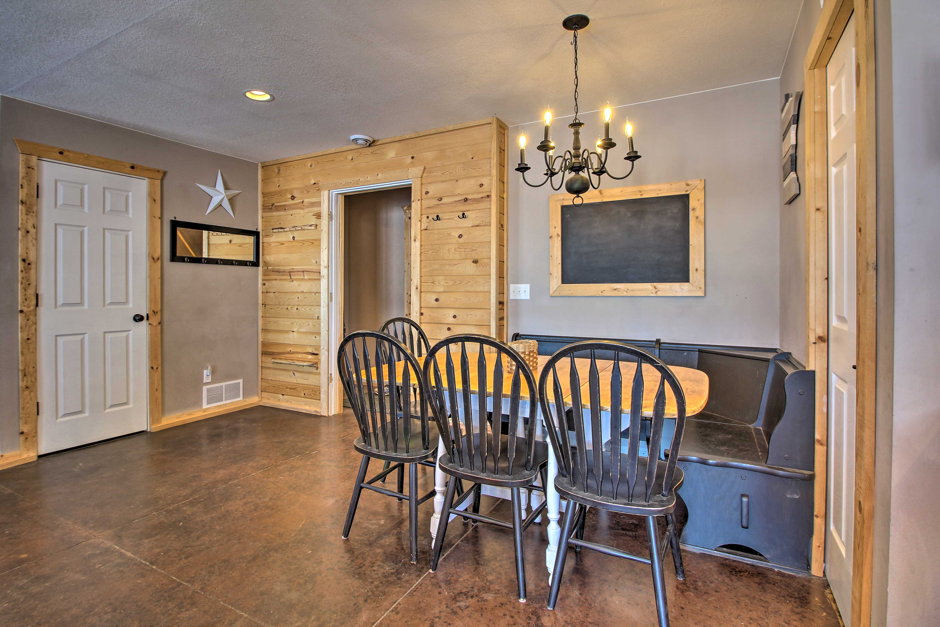 Gather the group for a family dinner in the booth-style table.