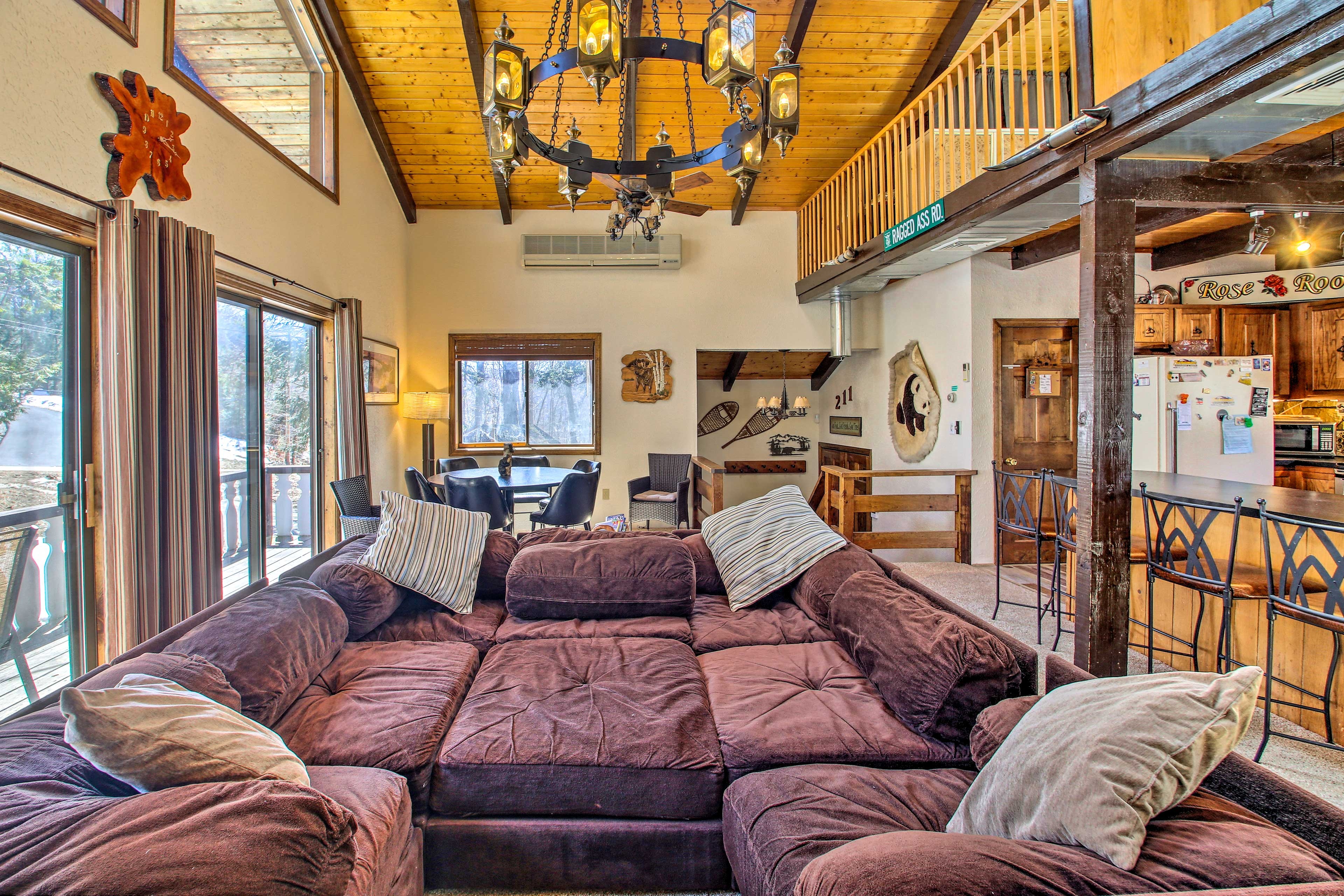 The pit couch is the perfect place to cozy up after a day on the slopes.