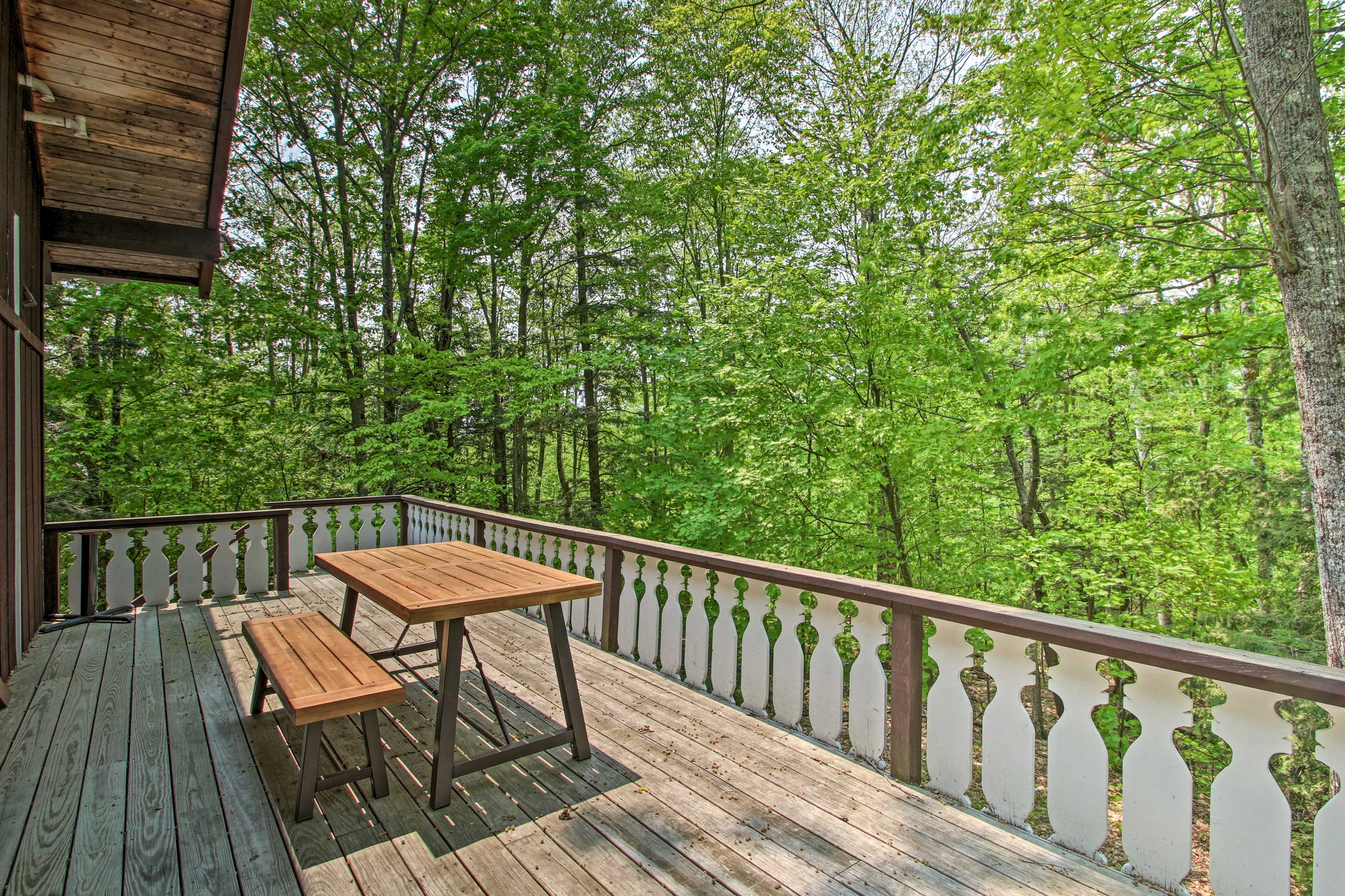 The deck is the perfect spot to enjoy a glass of wine!