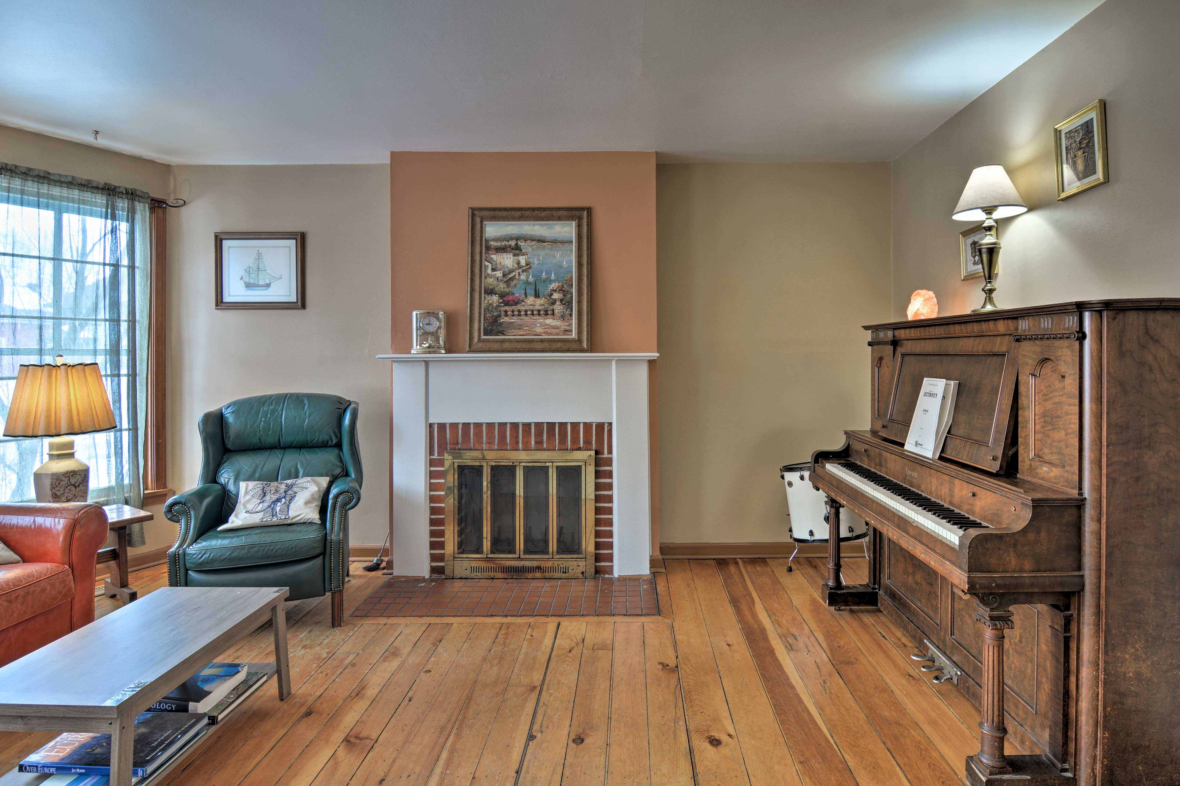 Warm up by the wood-burning fireplace in the living room.