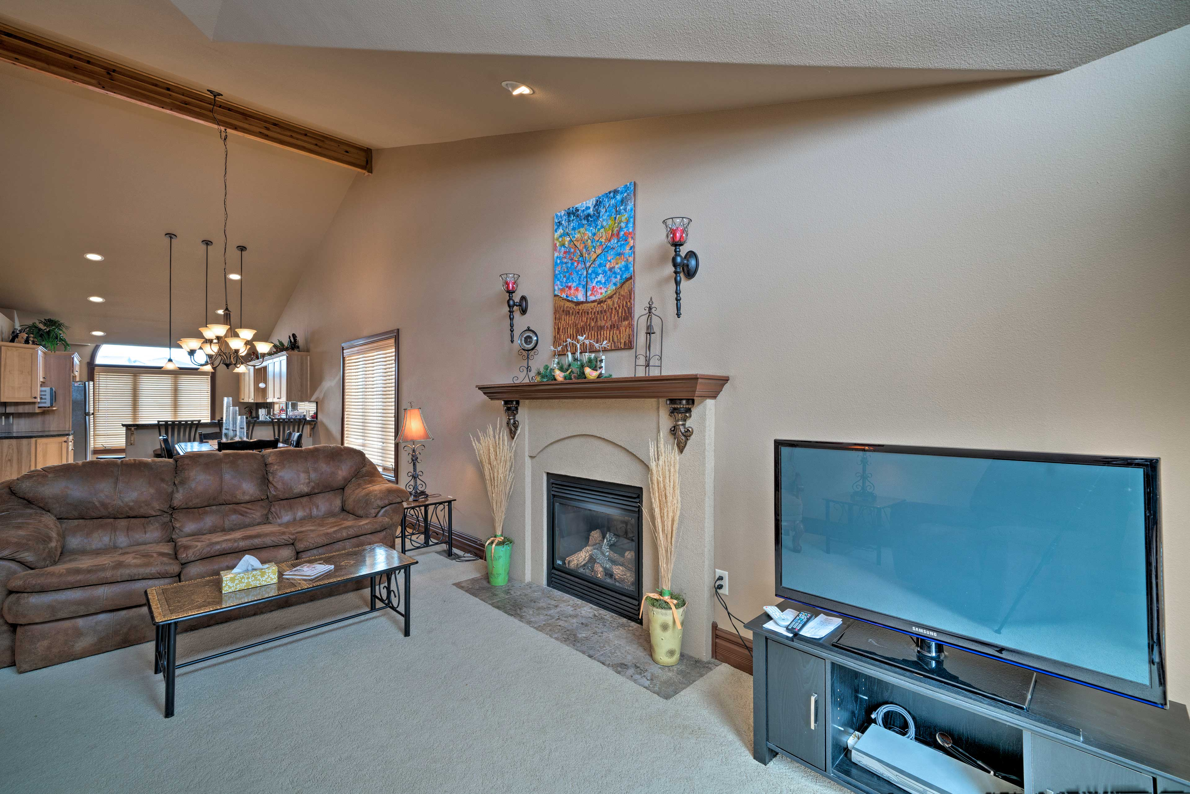 Unwind in the living room and watch your favorite shows on the flat-screen TV.