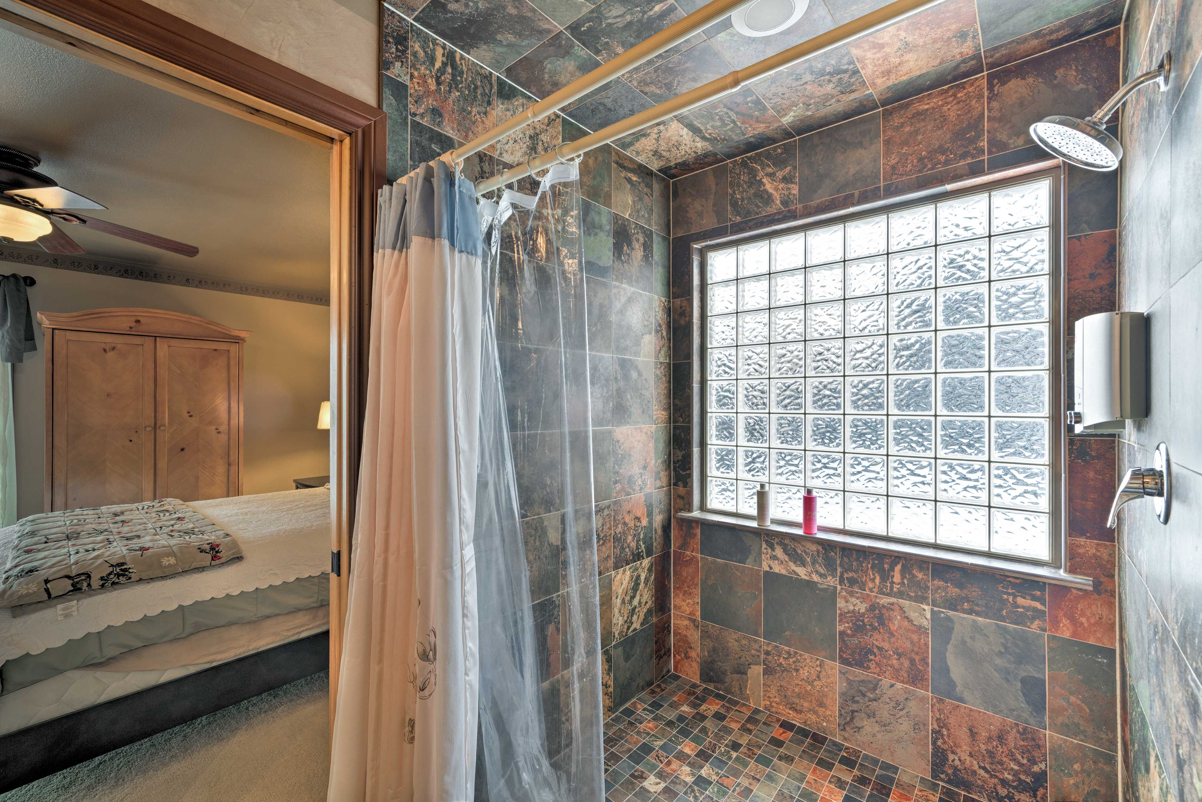 Hop in the walk-in shower to rinse off after a day on the slopes.