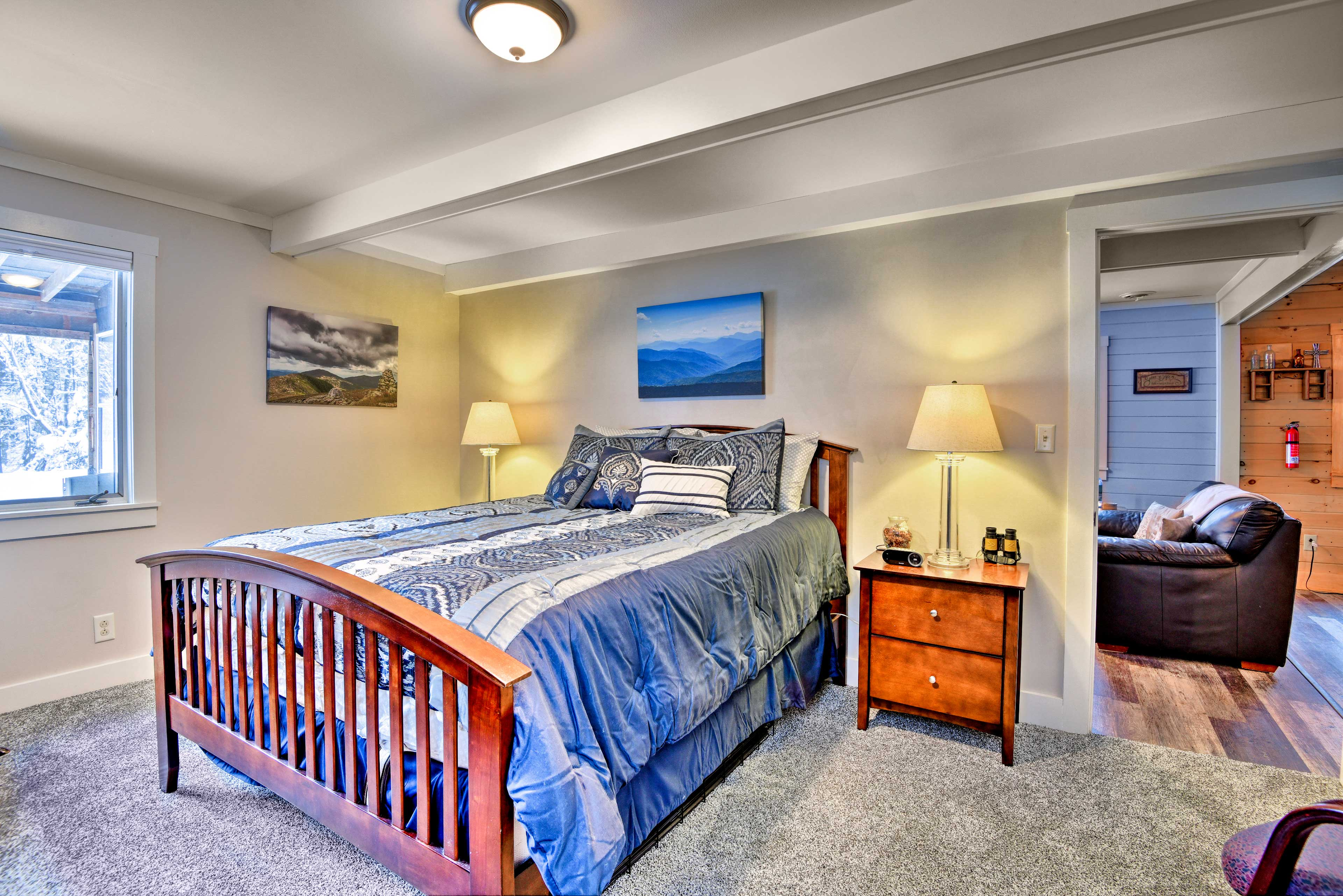 The first bedroom has a queen bed and is located on the first floor.