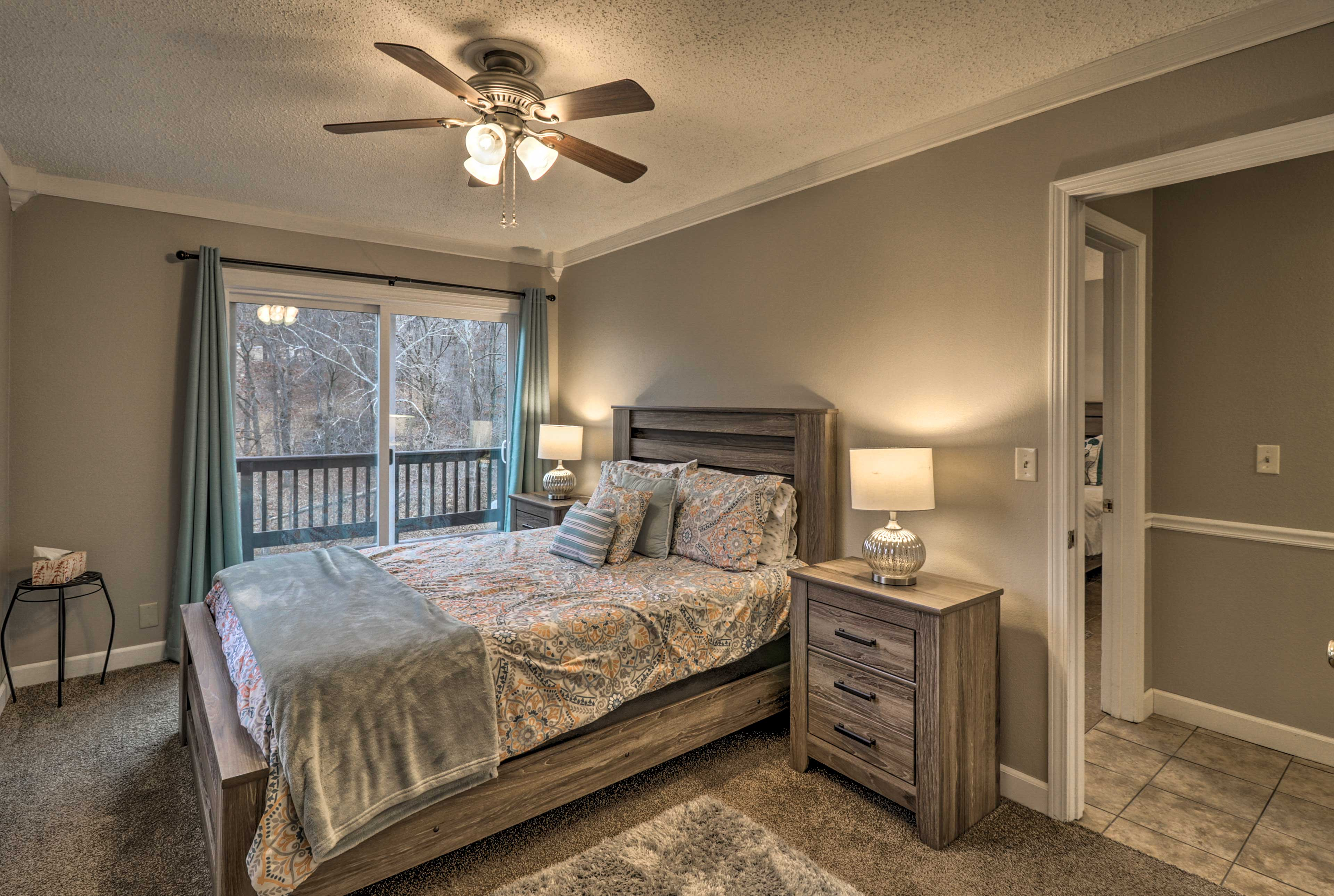 Rest your head after an exciting day in this comfy queen bed.