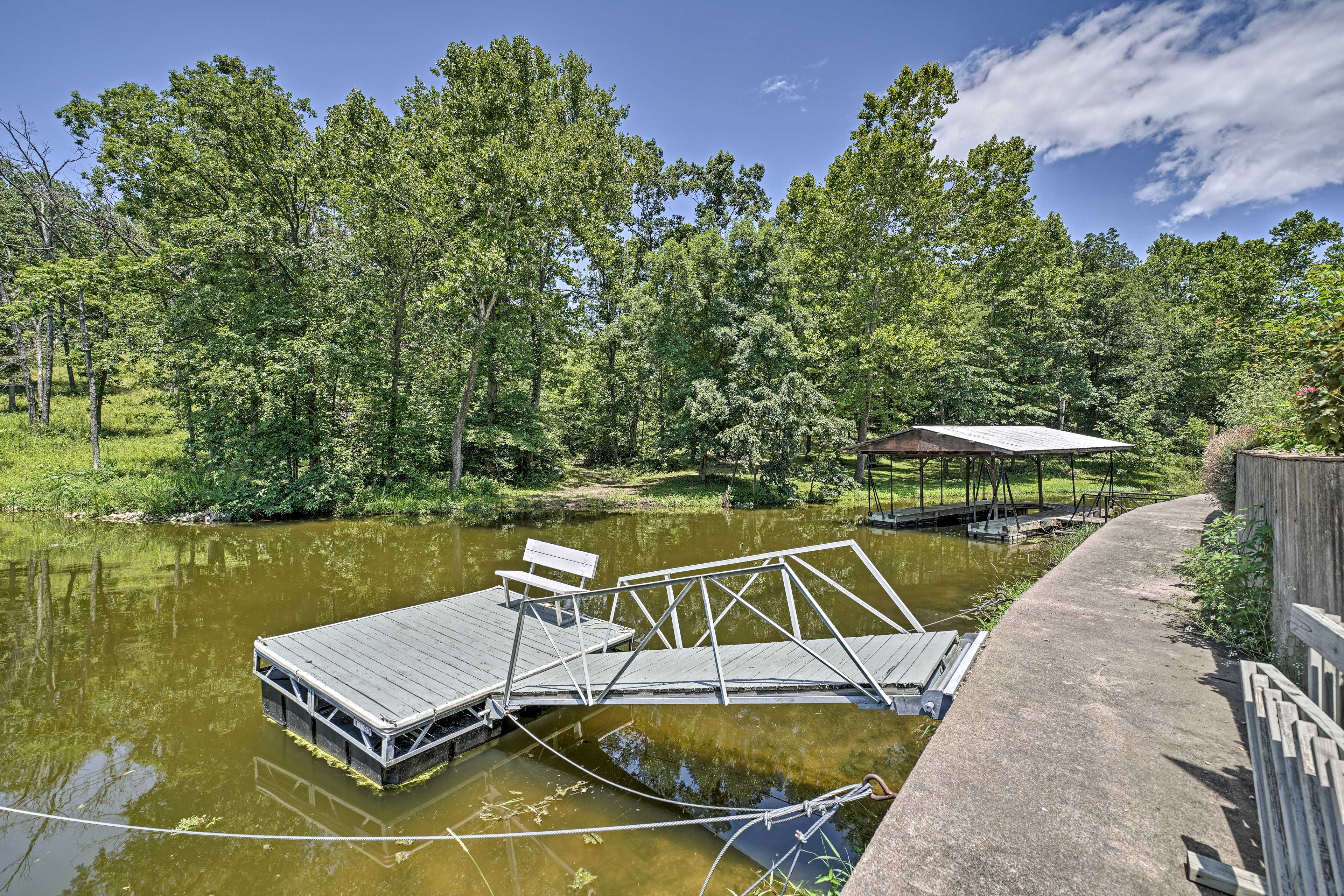 Your kids (& you!) will absolutely love jumping off into the cove from the dock!