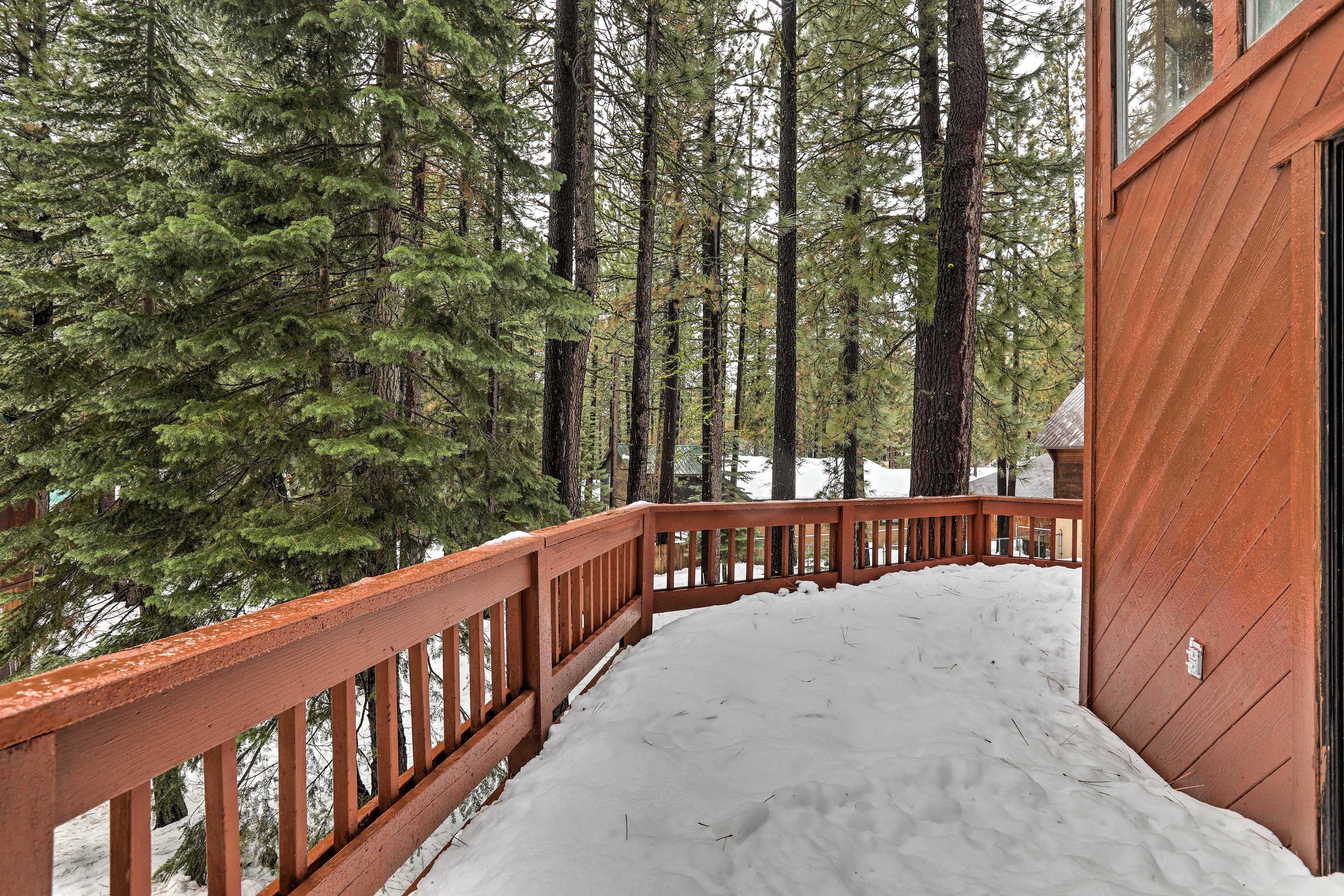 The cabin boasts a wraparound deck.