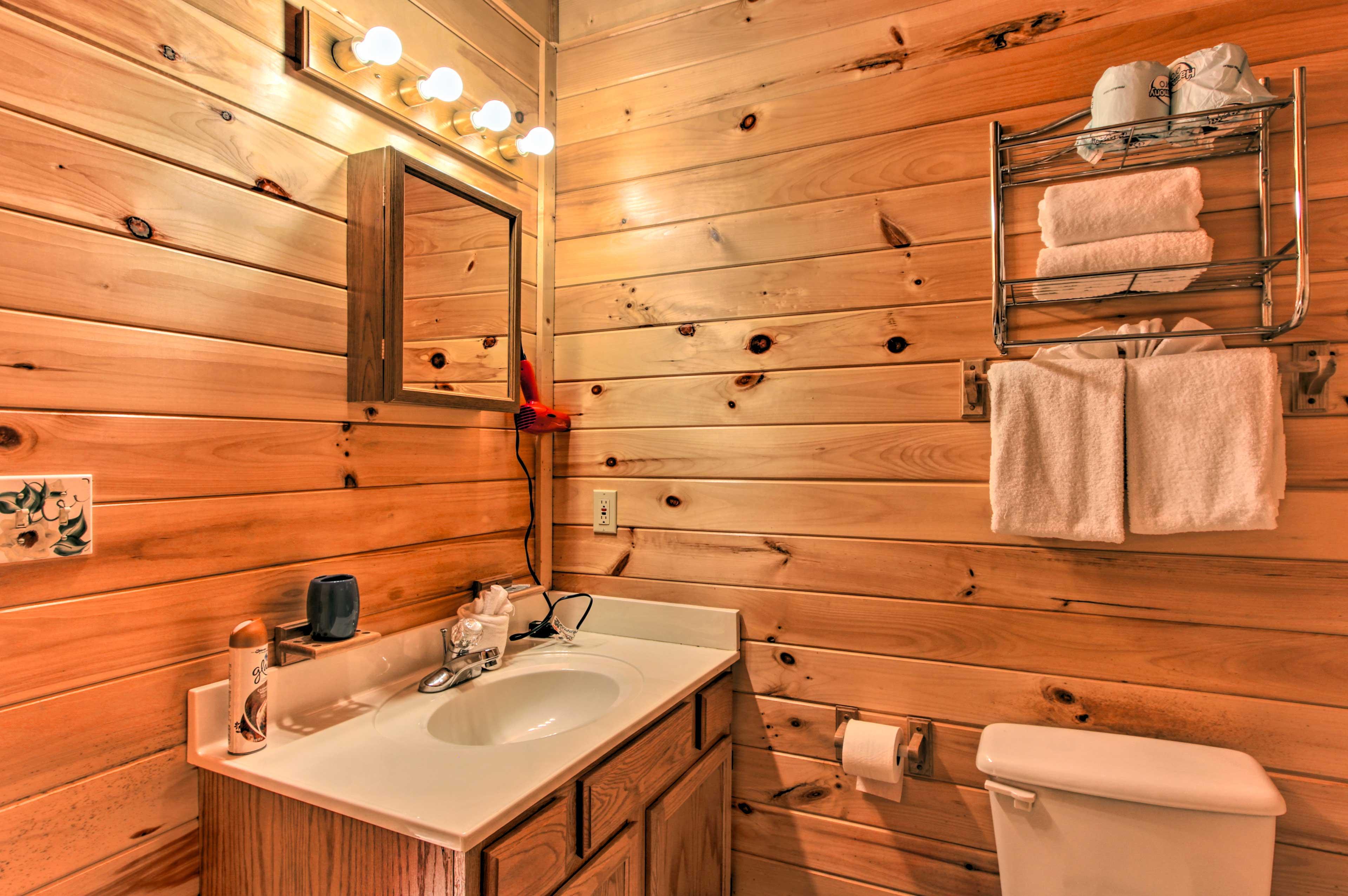 The en-suite bathroom has a hairdryer!