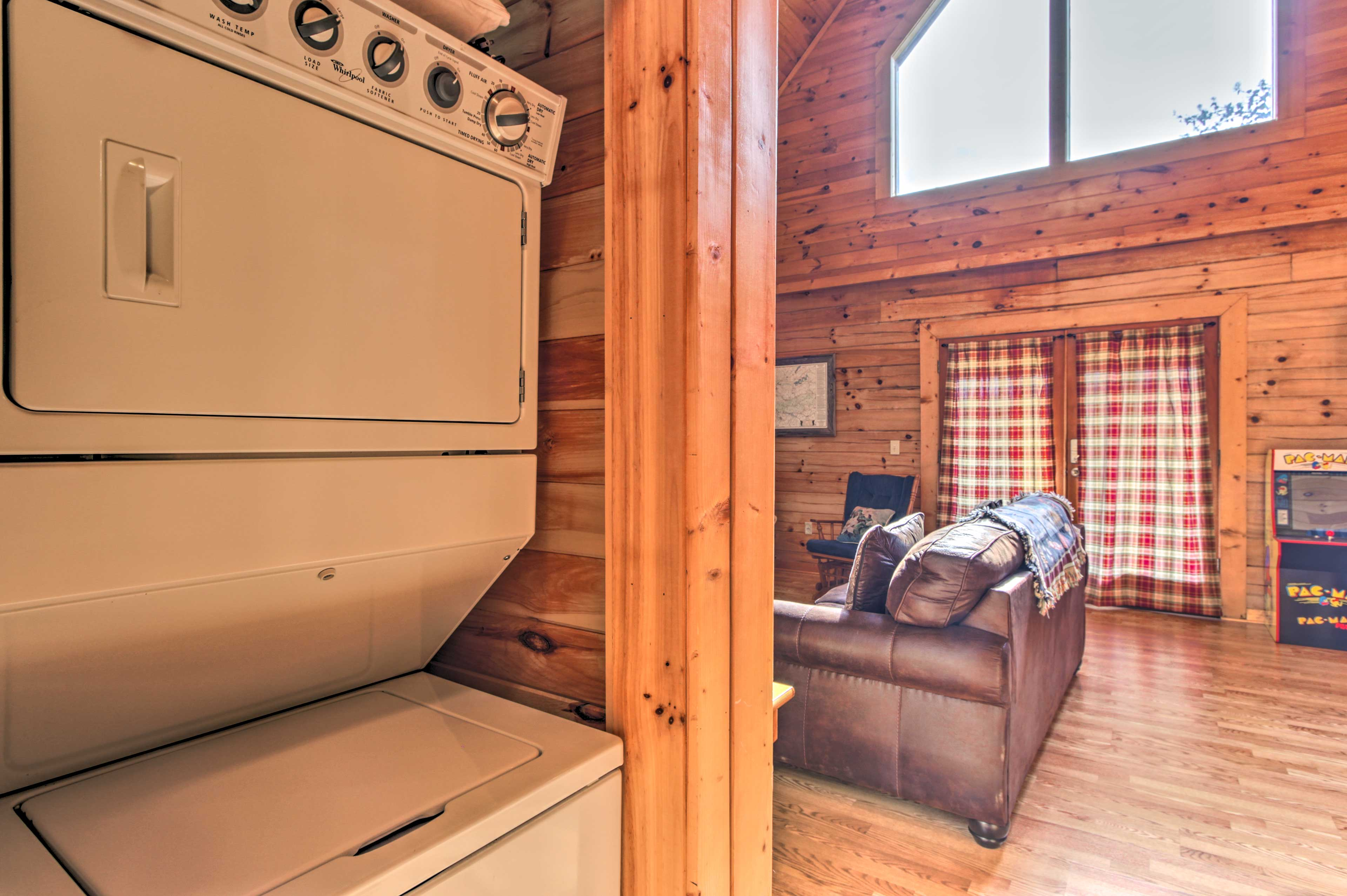 The laundry room is located off the living room.
