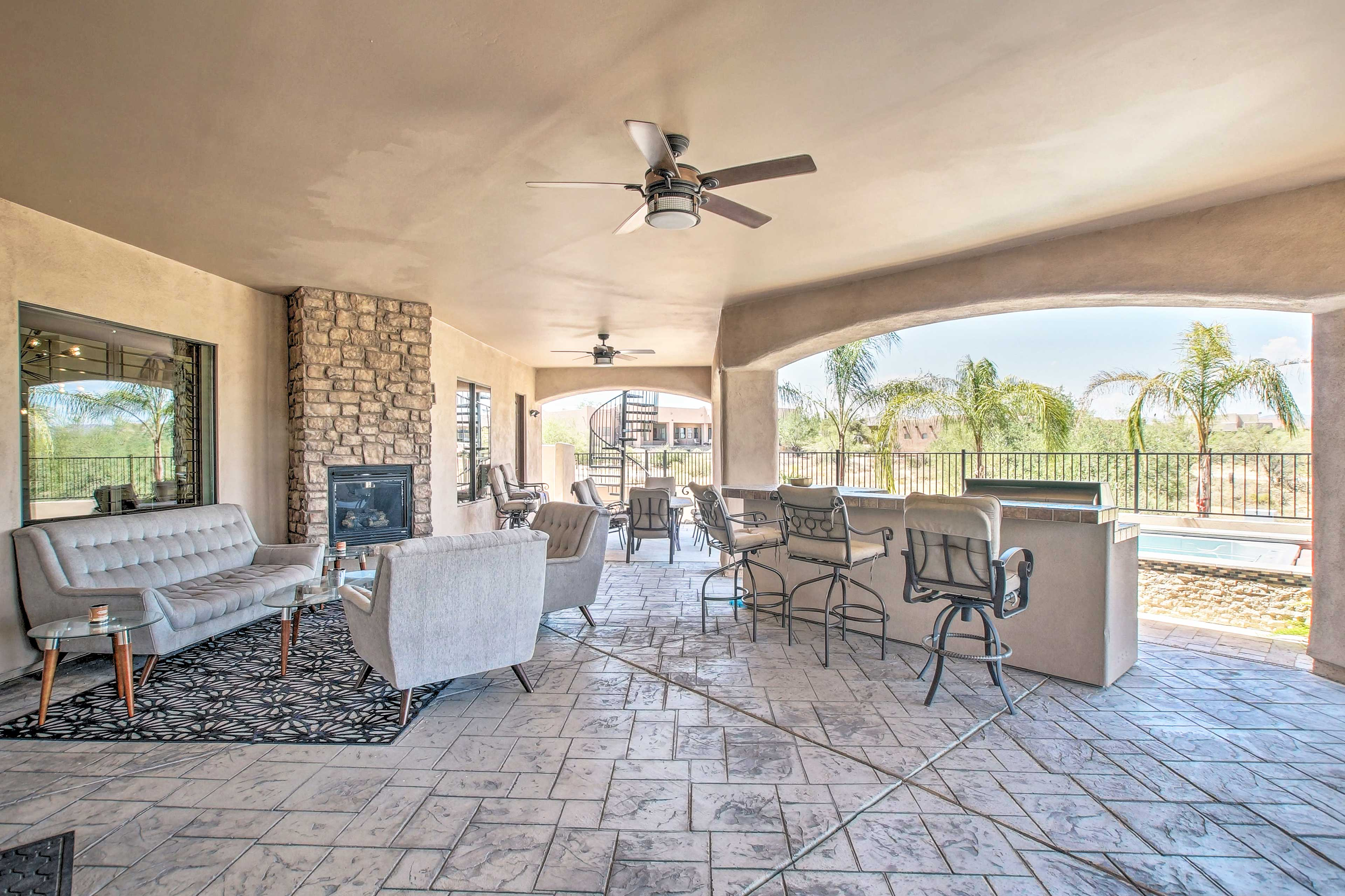 The covered patio is an oasis!