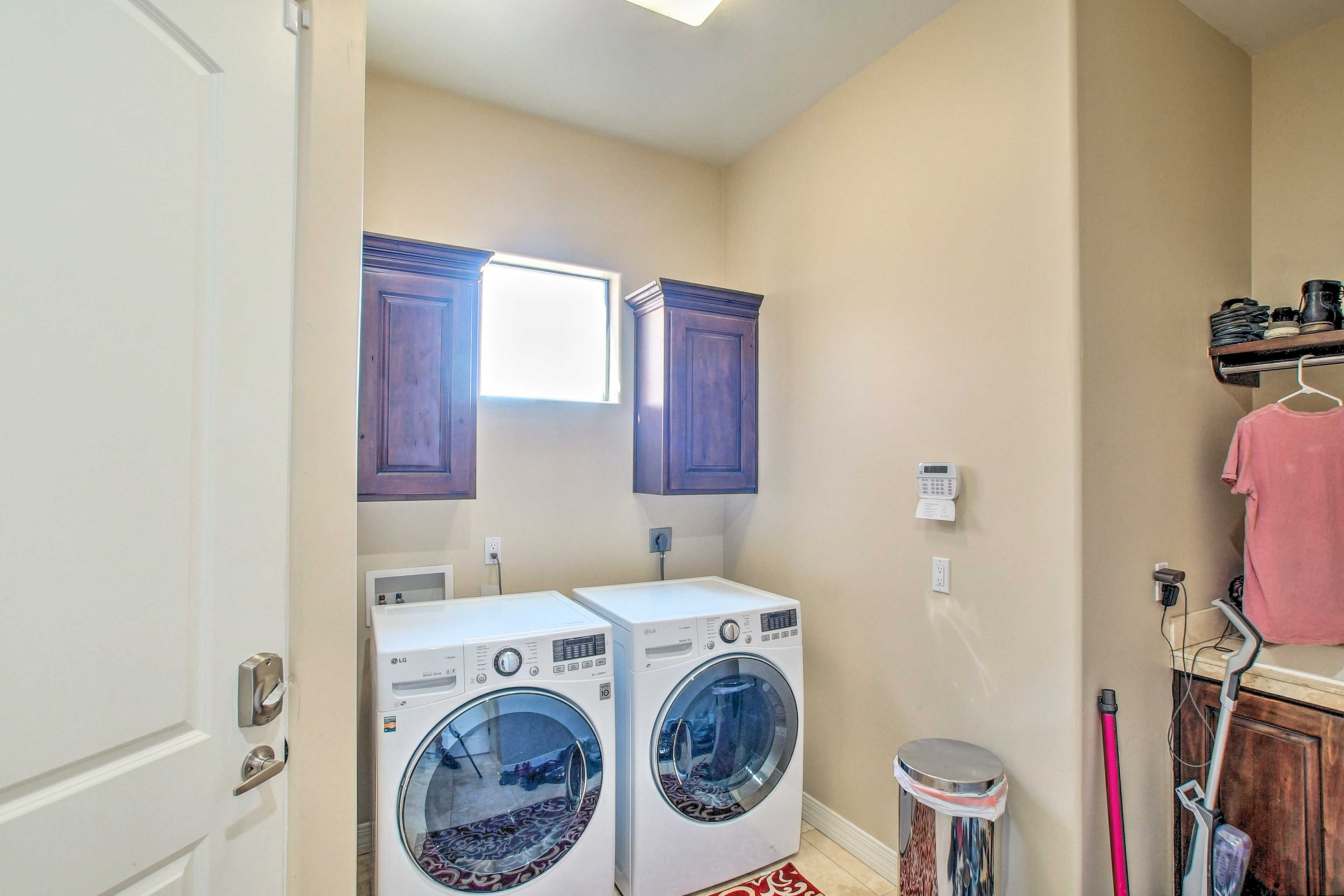 Wash your dirty duds in the in-unit washer/dryer.