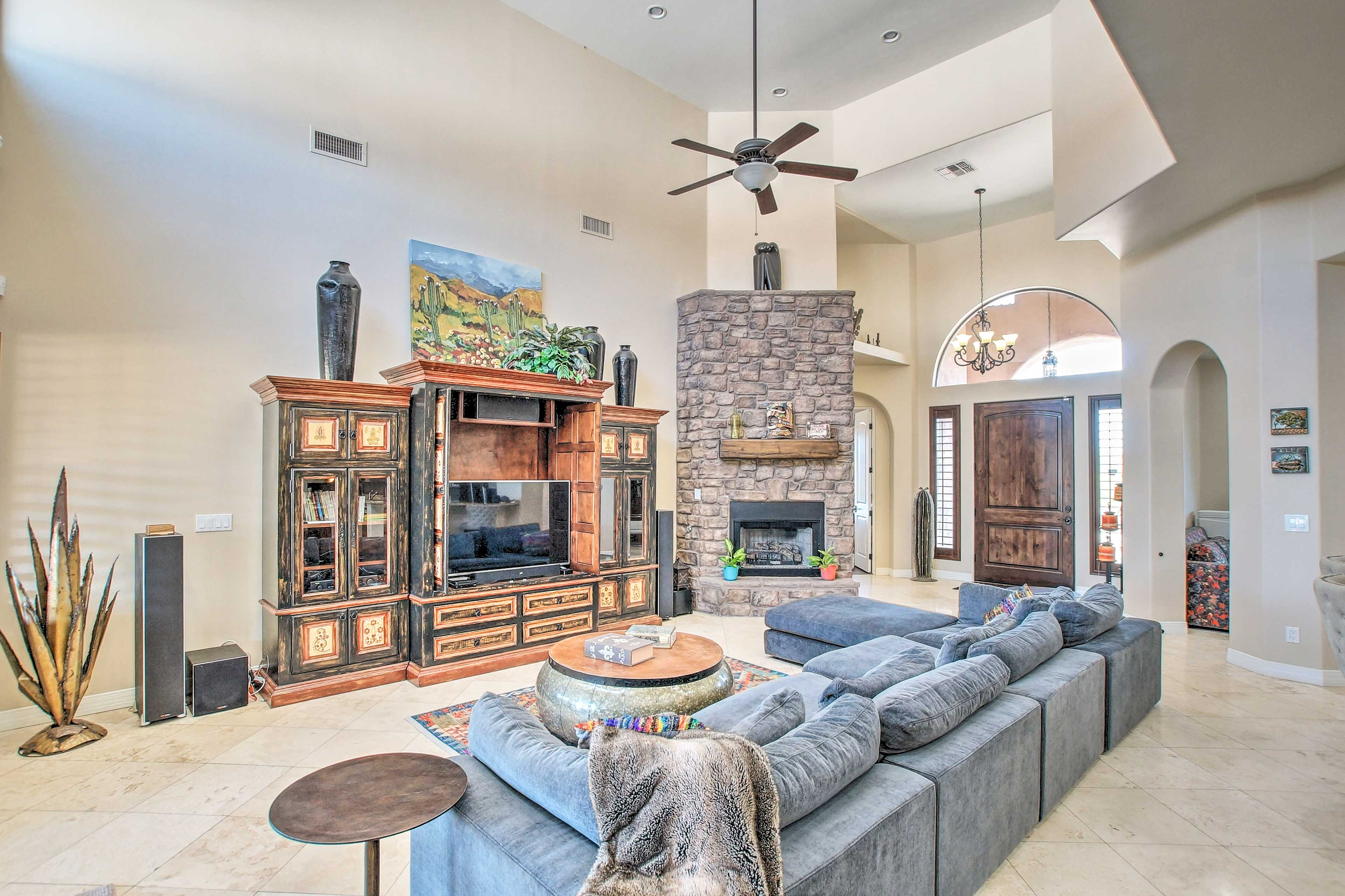 Unwind in this lavish 5-bedroom, 4-bathroom vacation rental home in Scottsdale.