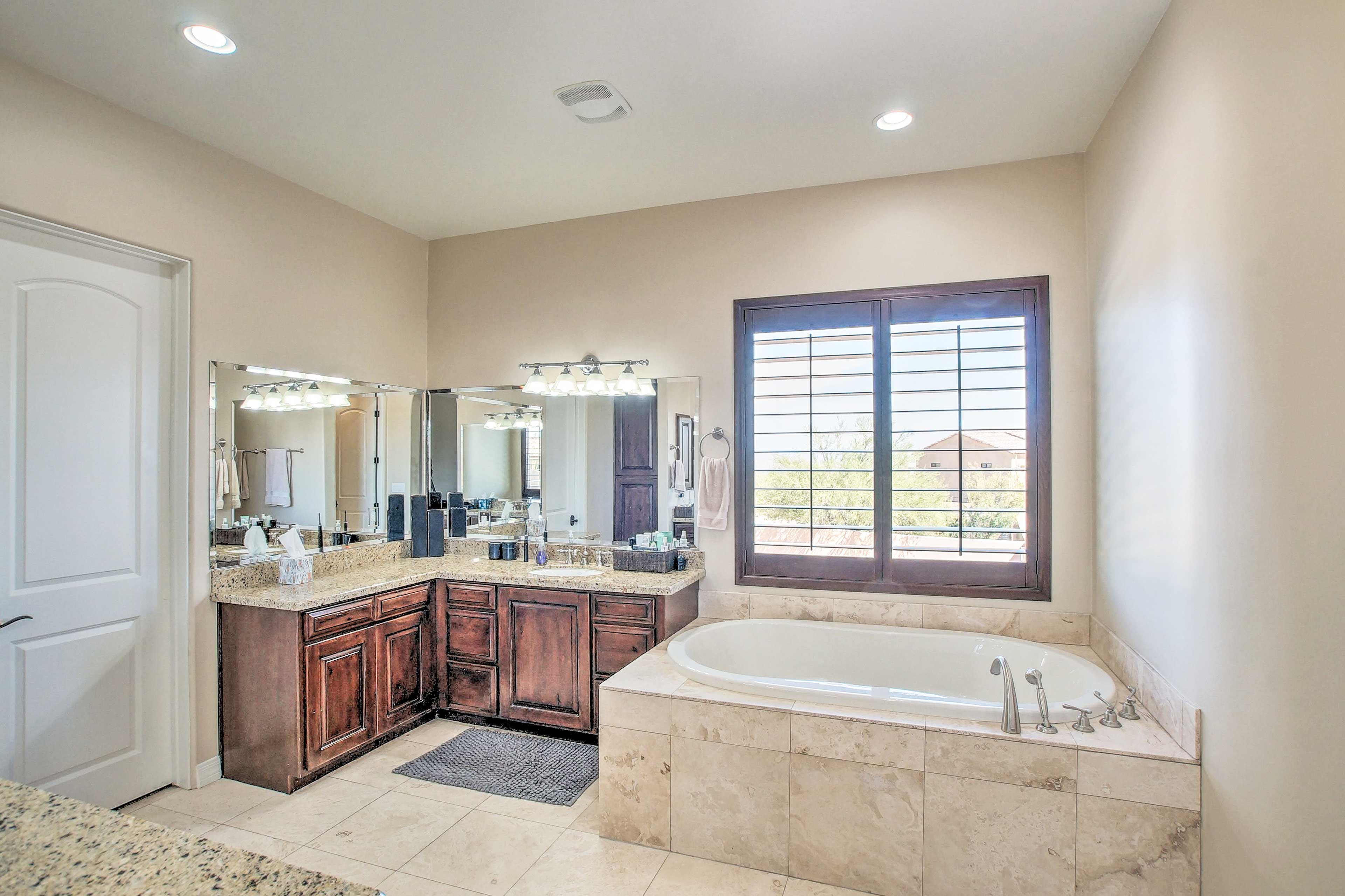 Soak your night away in the large bathtub.