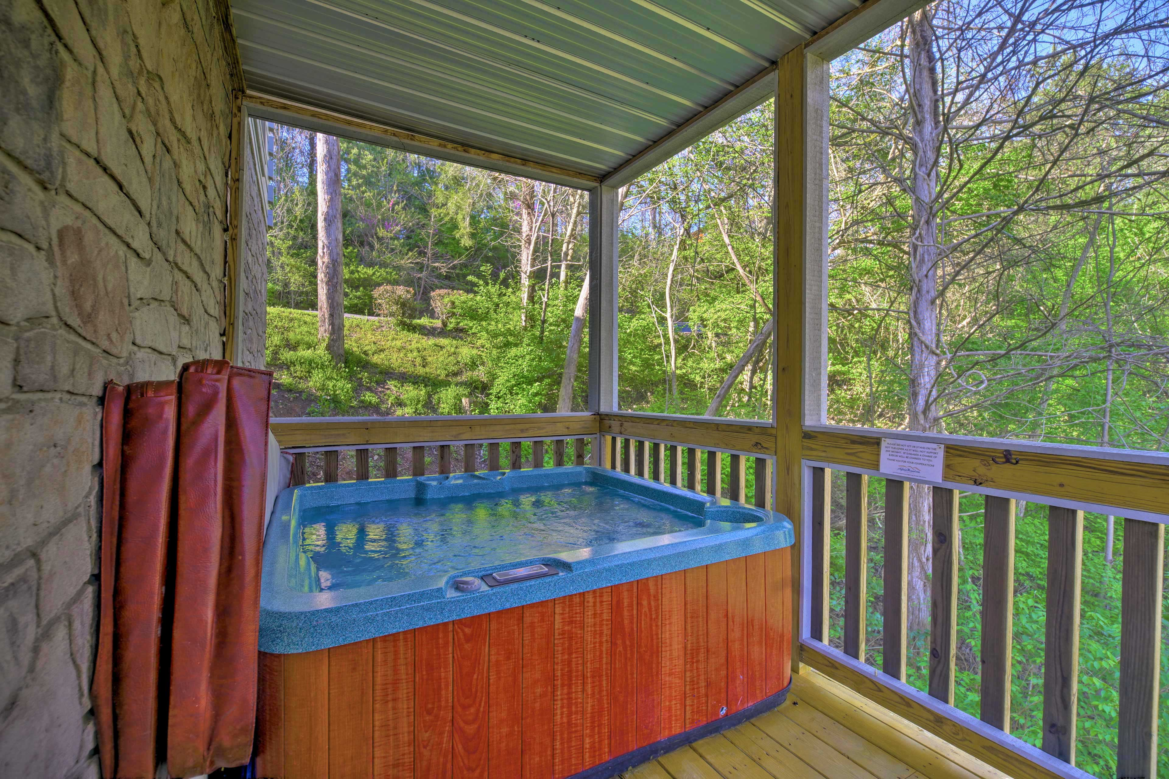 This property boasts a private hot tub - just one of the many on-site amenities!