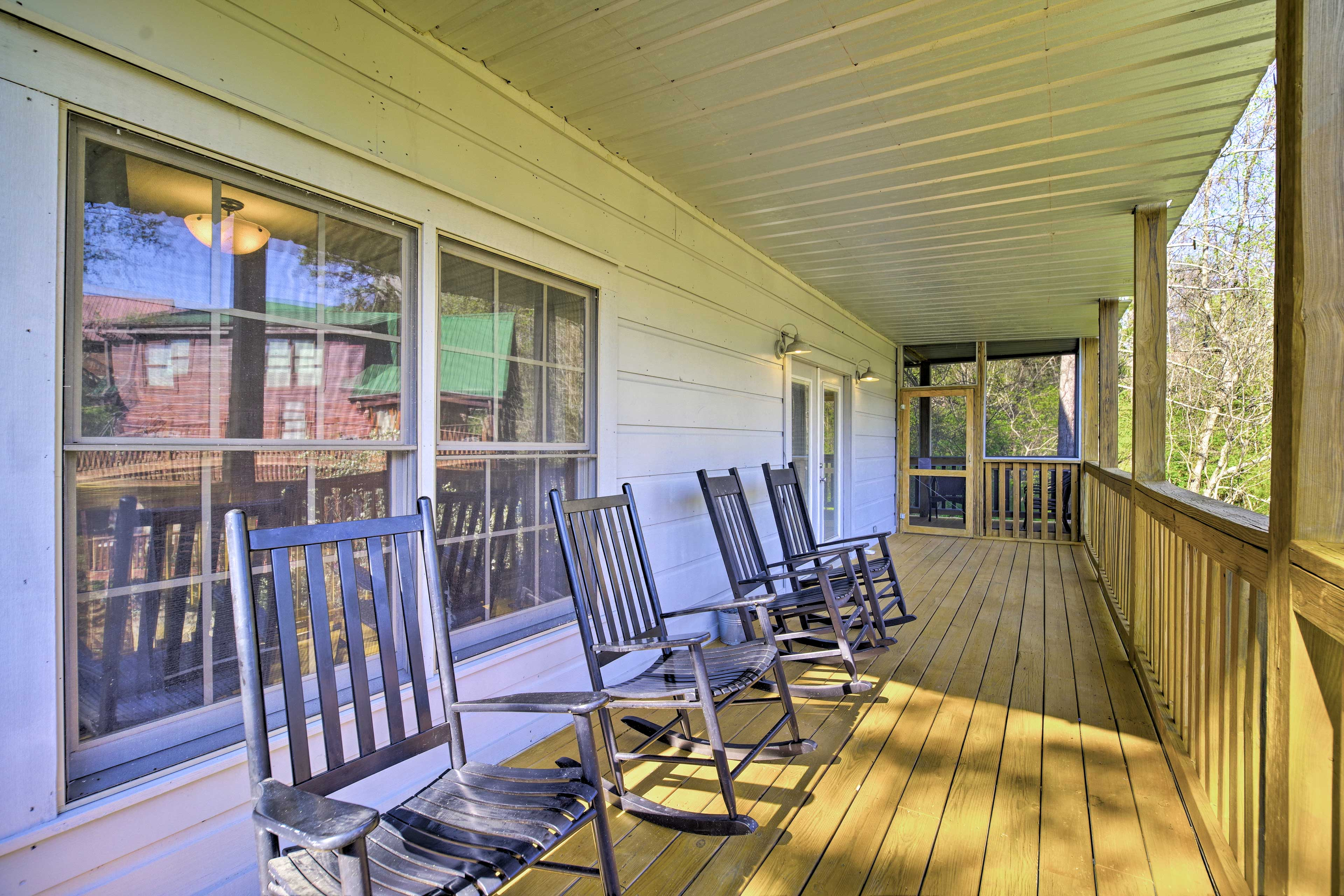 Start each morning with a cup of coffee on the rocking chairs.