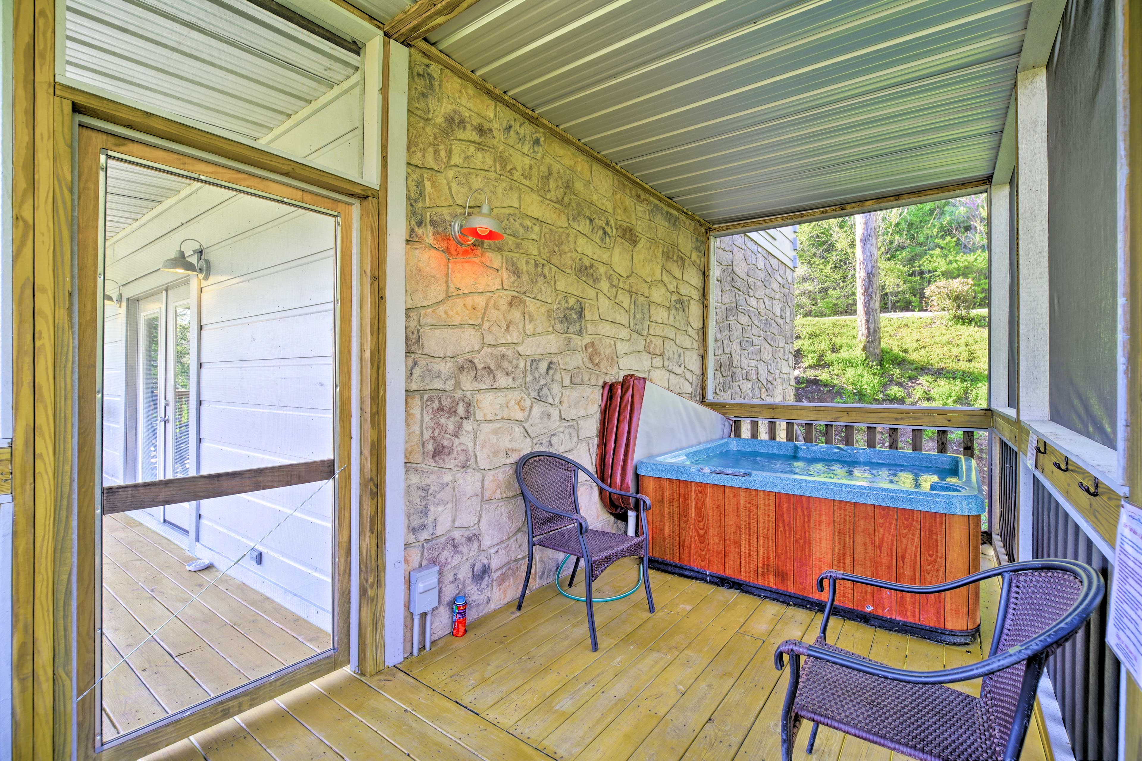 Take a dip in the private hot tub!