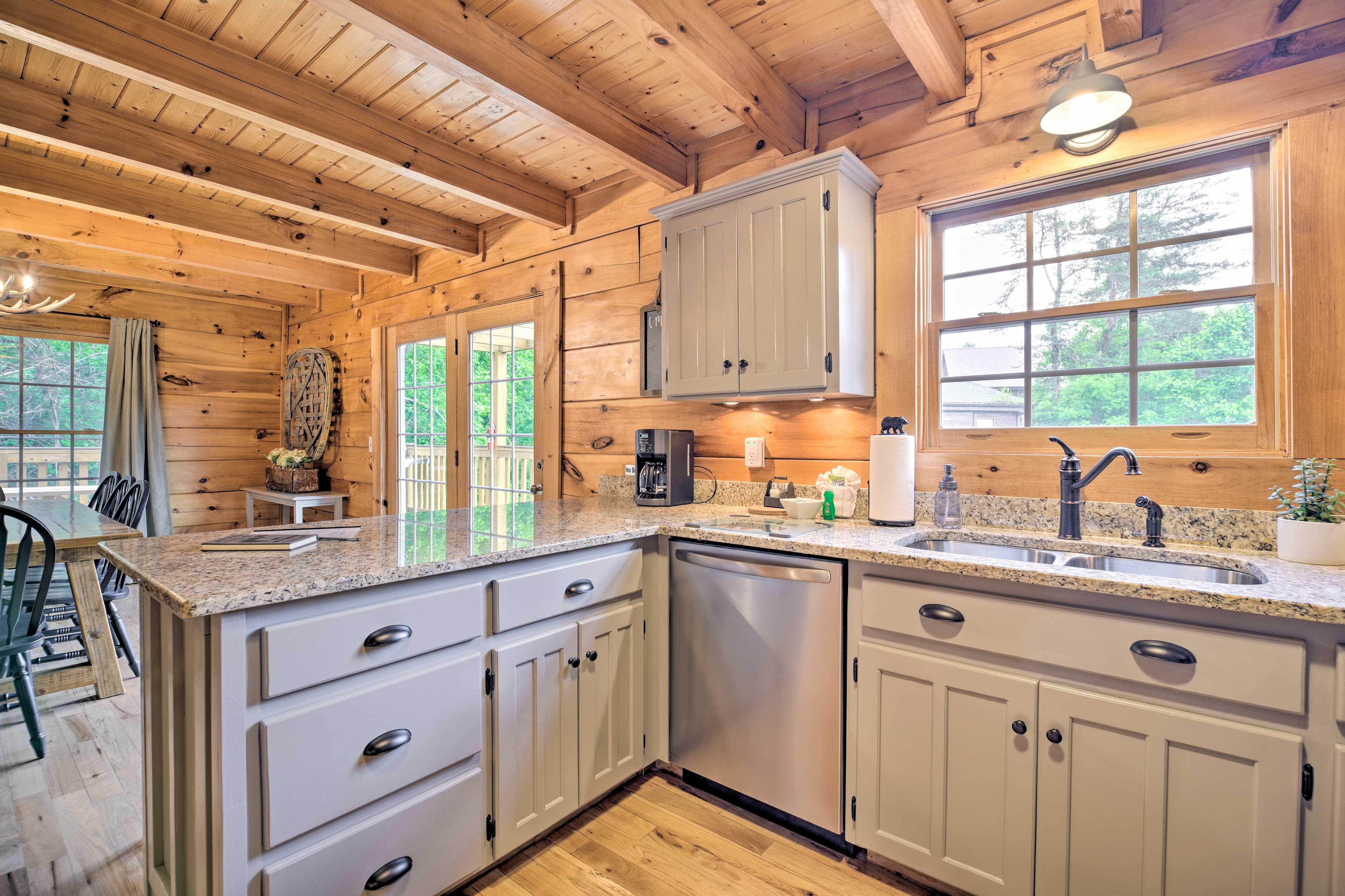 Sleek granite countertops complete the kitchen.
