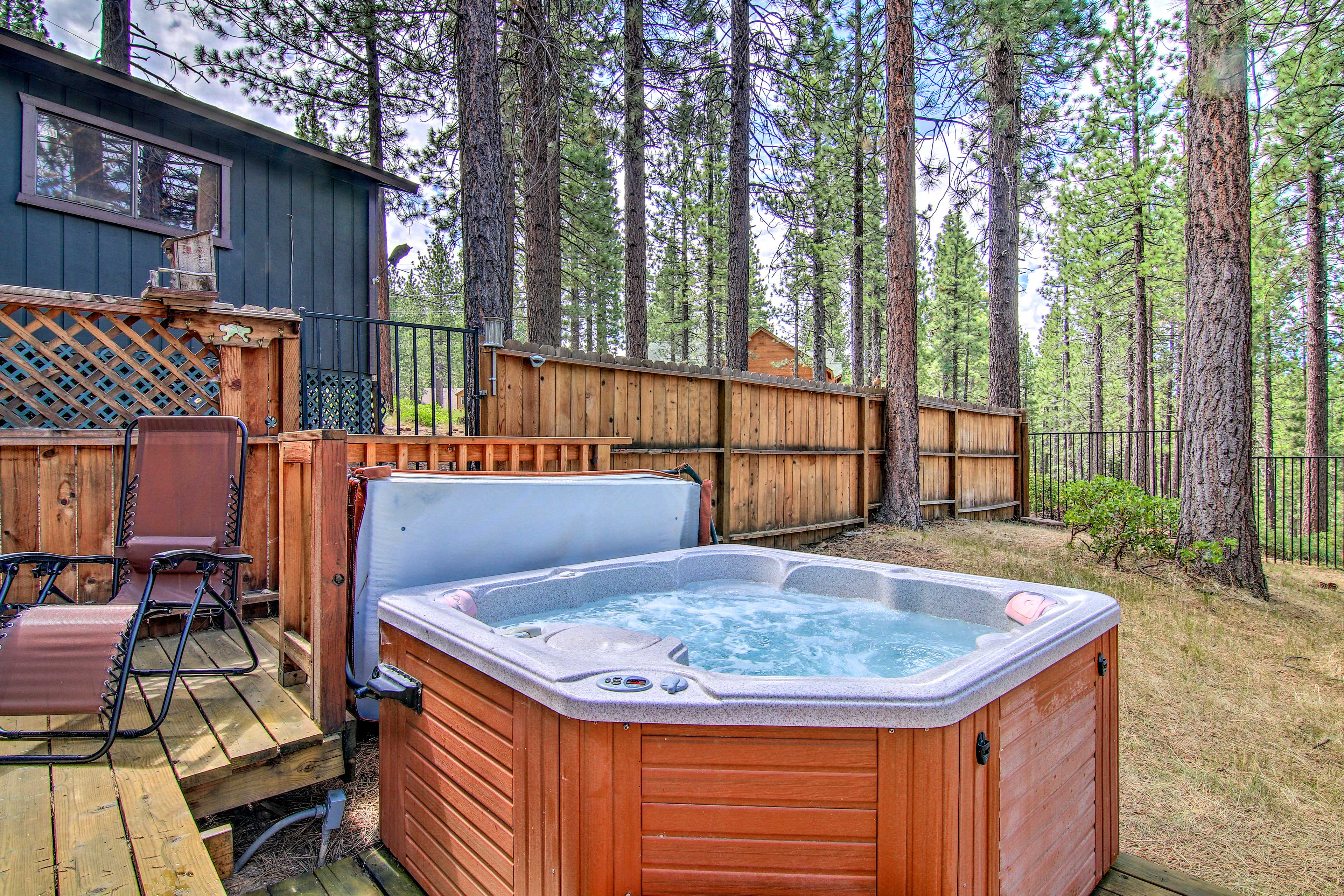 Relax in the hot tub after a day hitting the slopes.