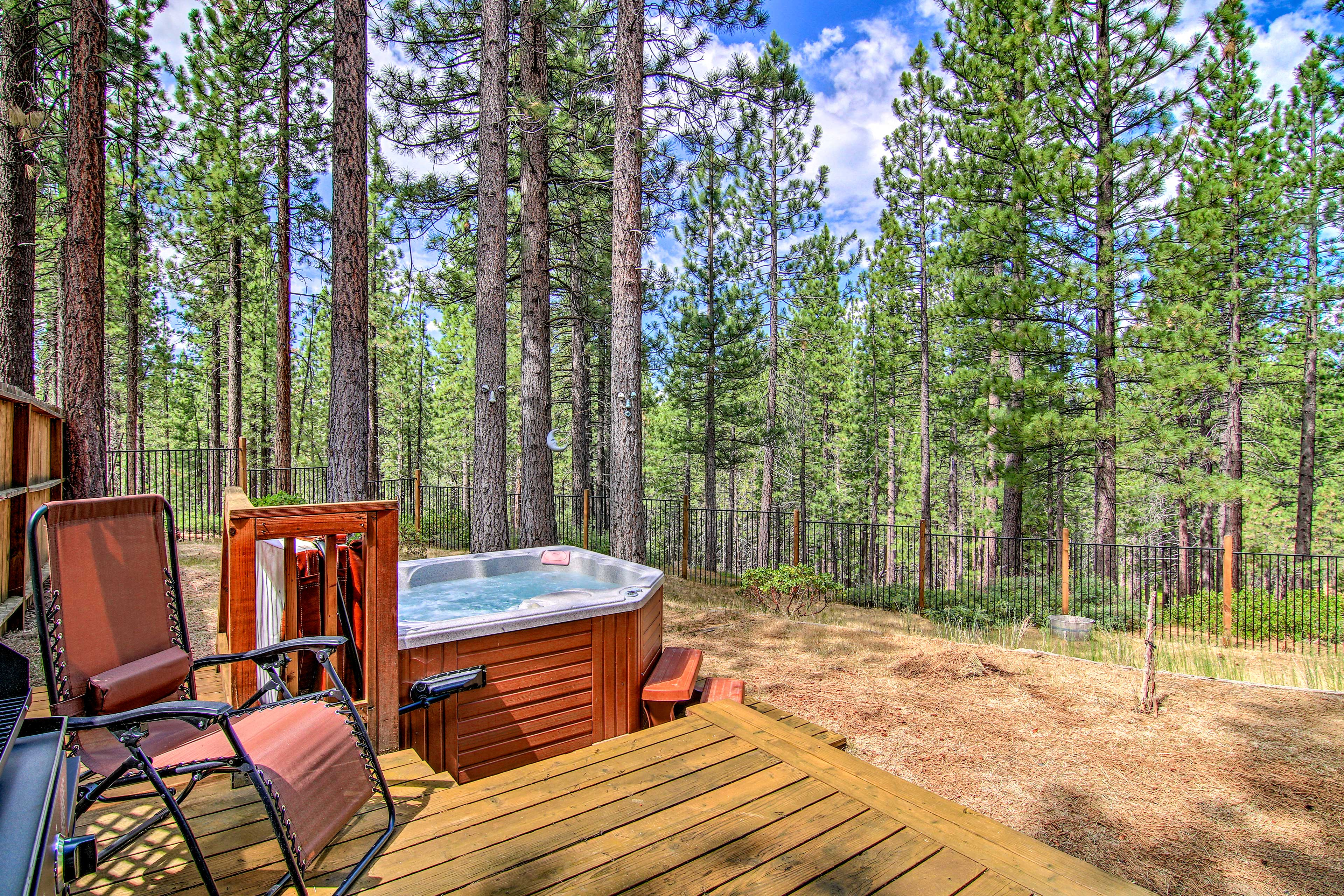 Lounge on the patio furniture or opt for a soak in the hot tub.