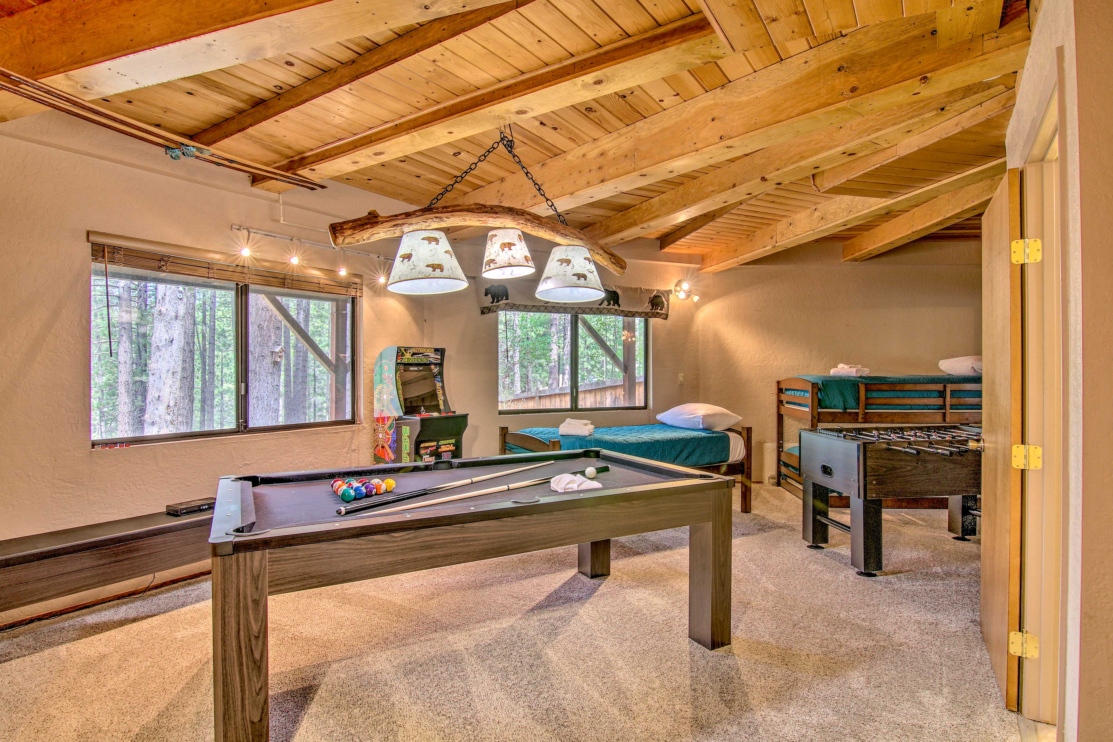 Spend time staying entertained in the game room.