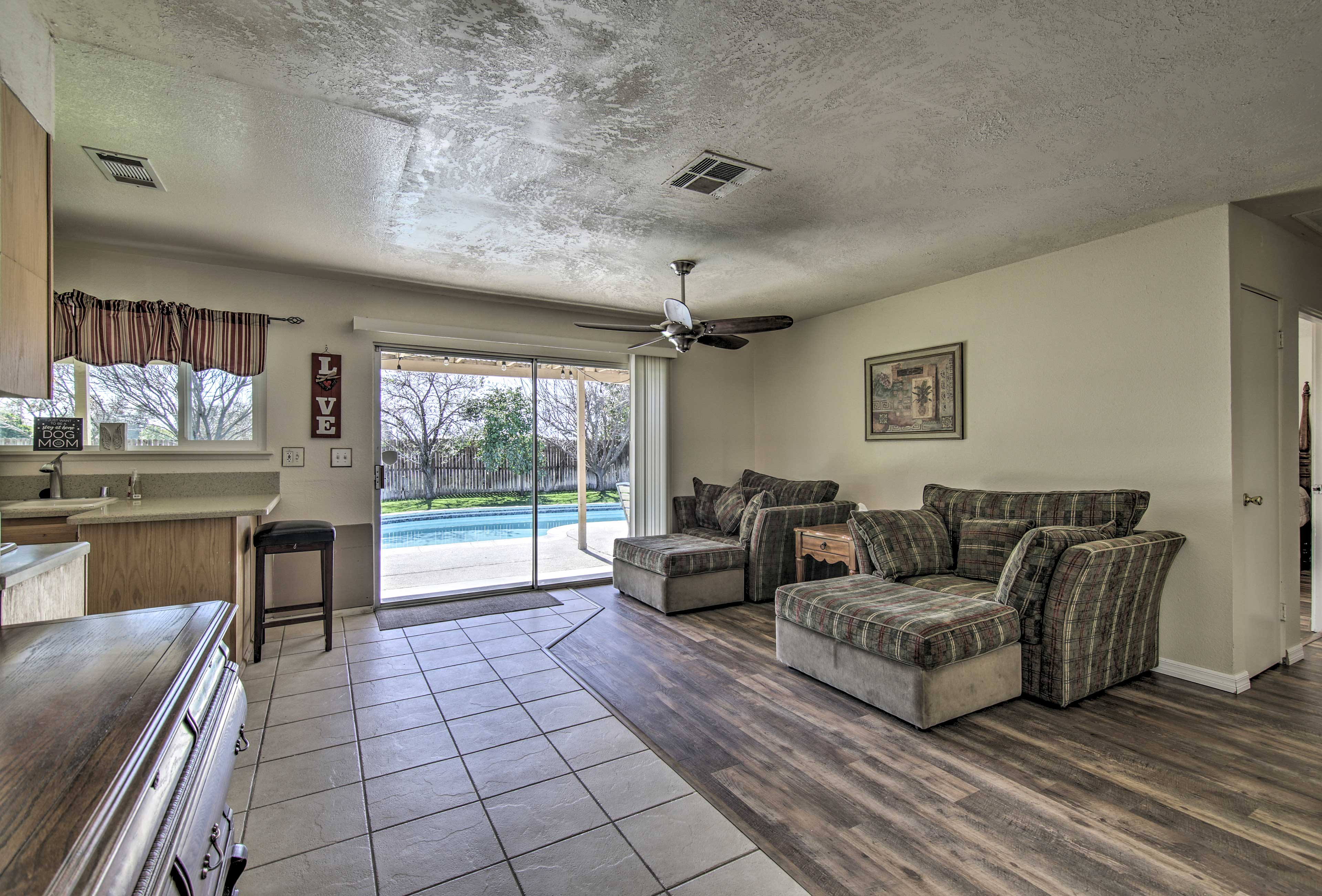Open the sliding glass doors and let the breeze blow in!