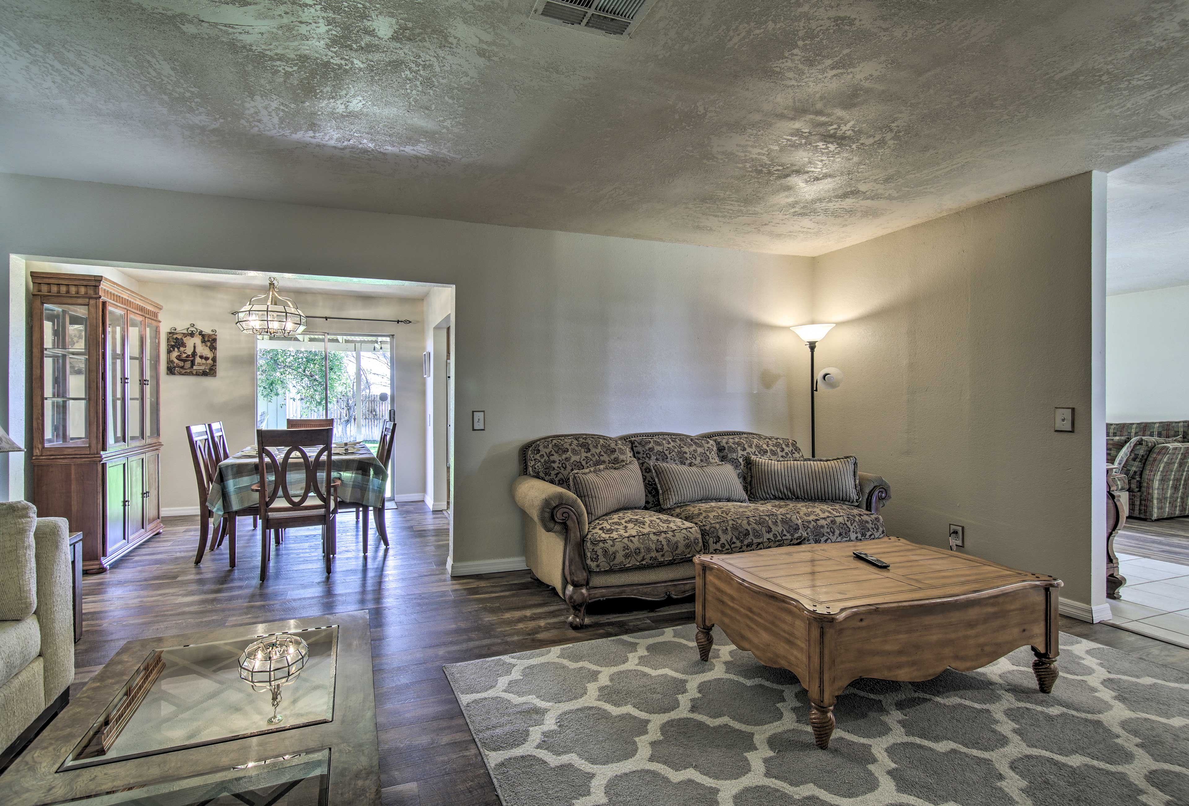 The open floor plan allows each room to flow together.