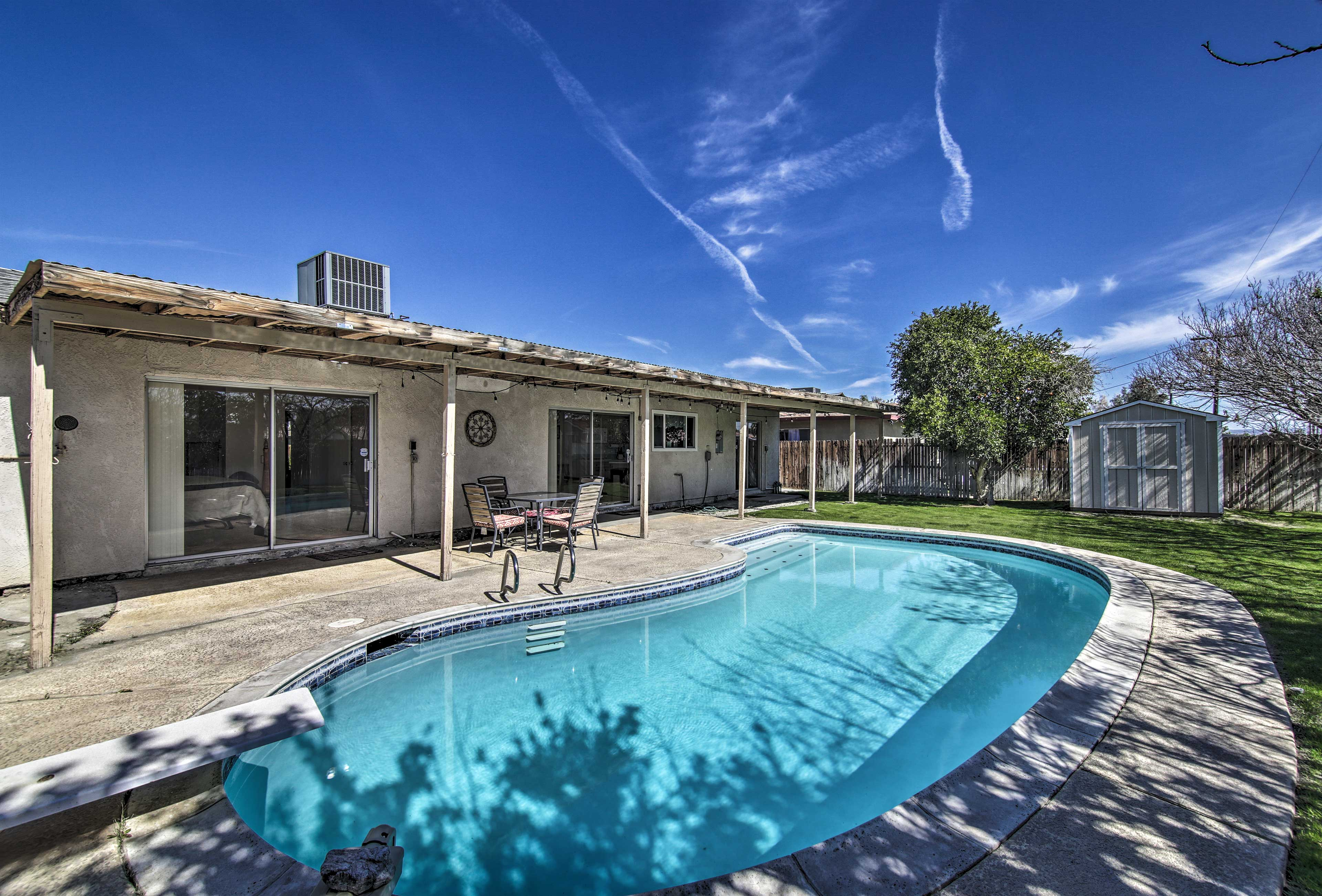 Jump off the diving board and take a dip in the private pool!