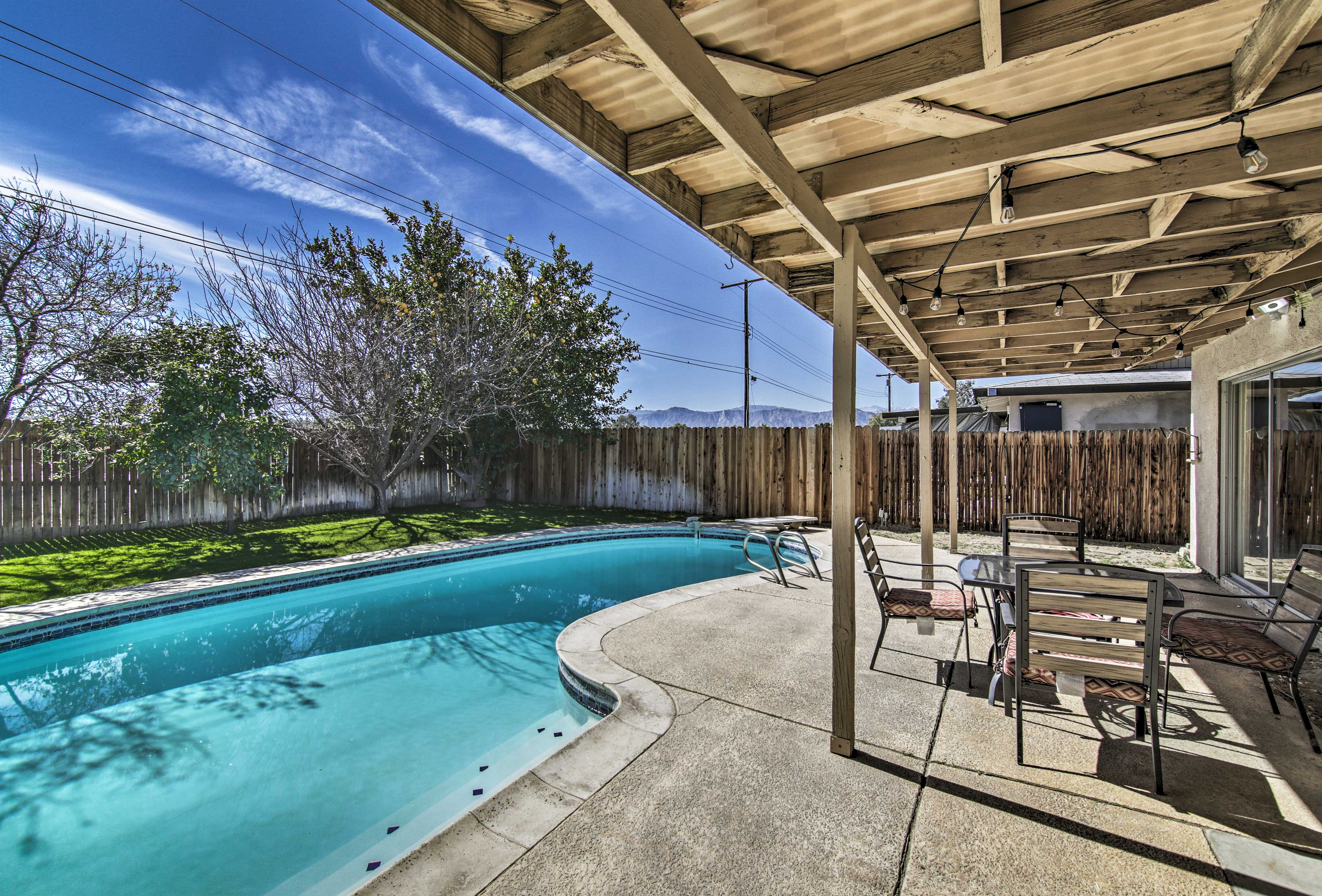 Head outside to the large, fenced backyard!