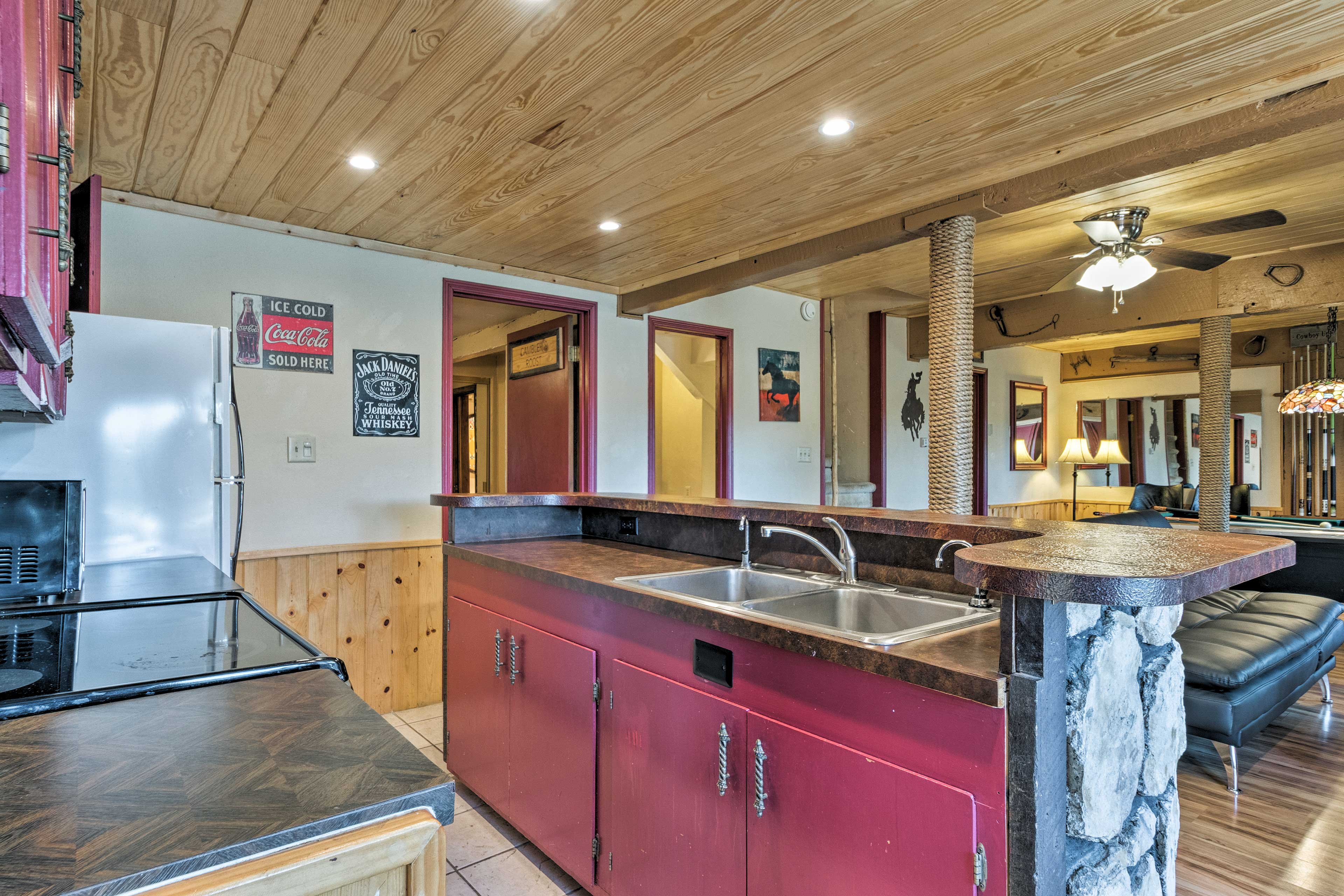 Whip up a quick snack in this convenient kitchen.