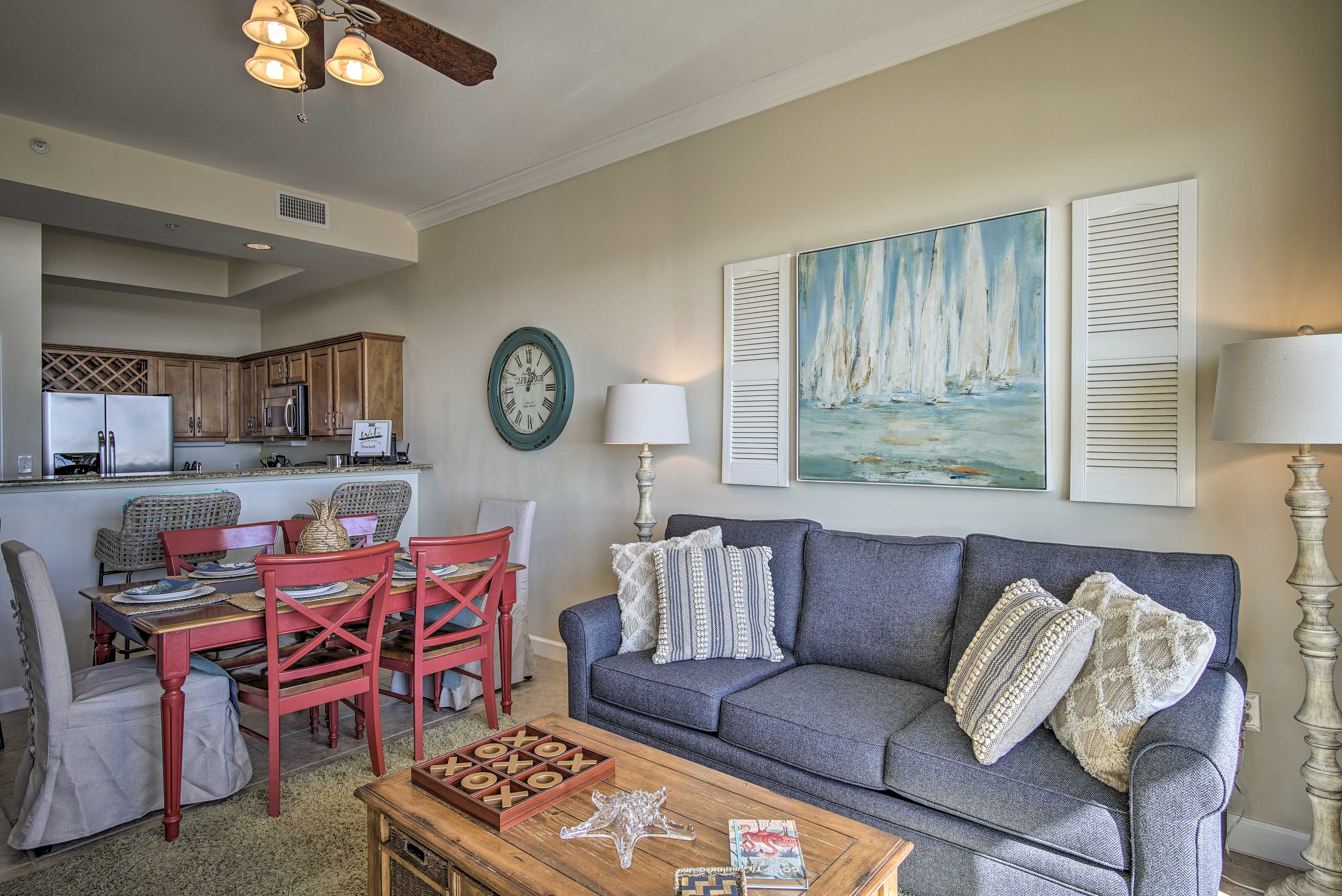 The condo has elegant decor and a soothing color scheme.
