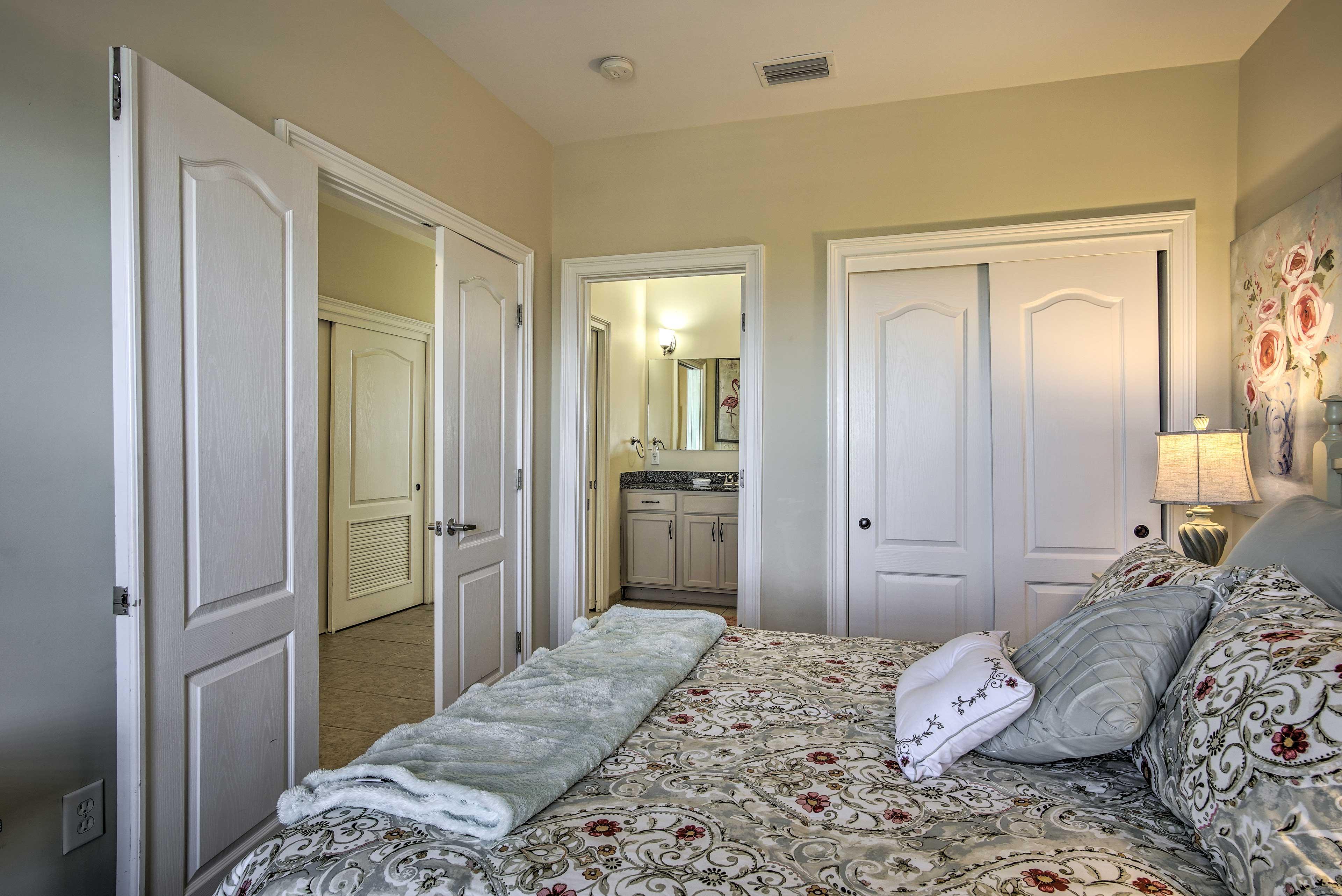 There is an en-suite bathroom in the master bedroom.