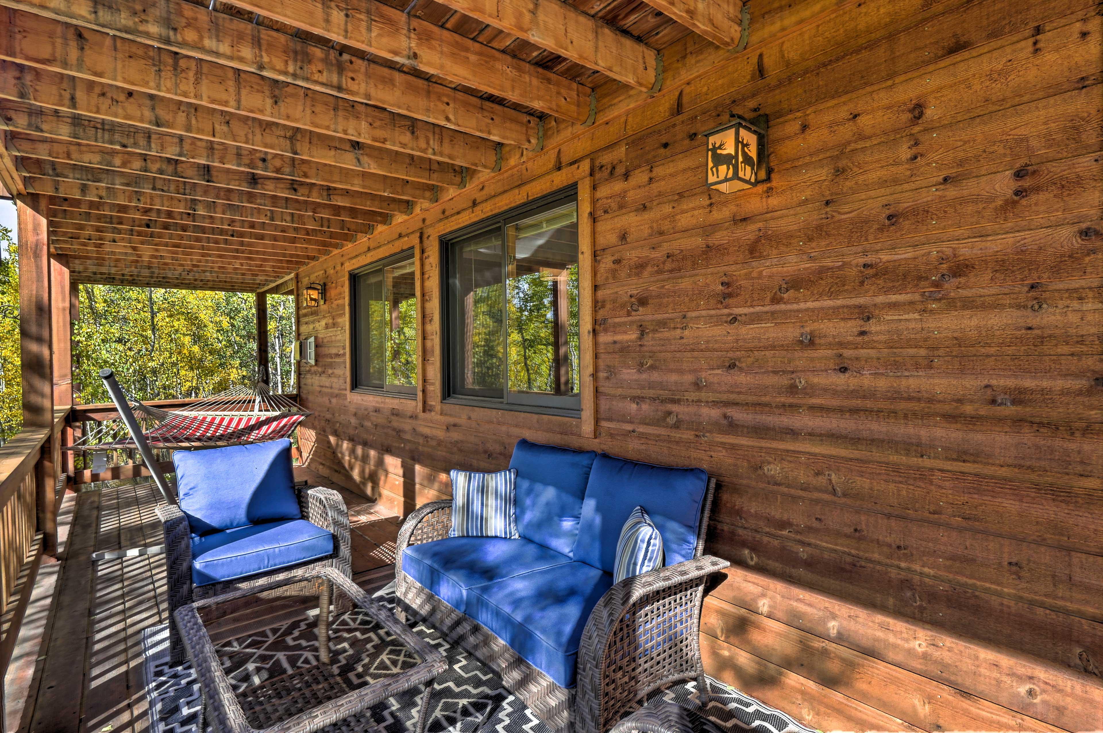Kick back on the furnished deck.
