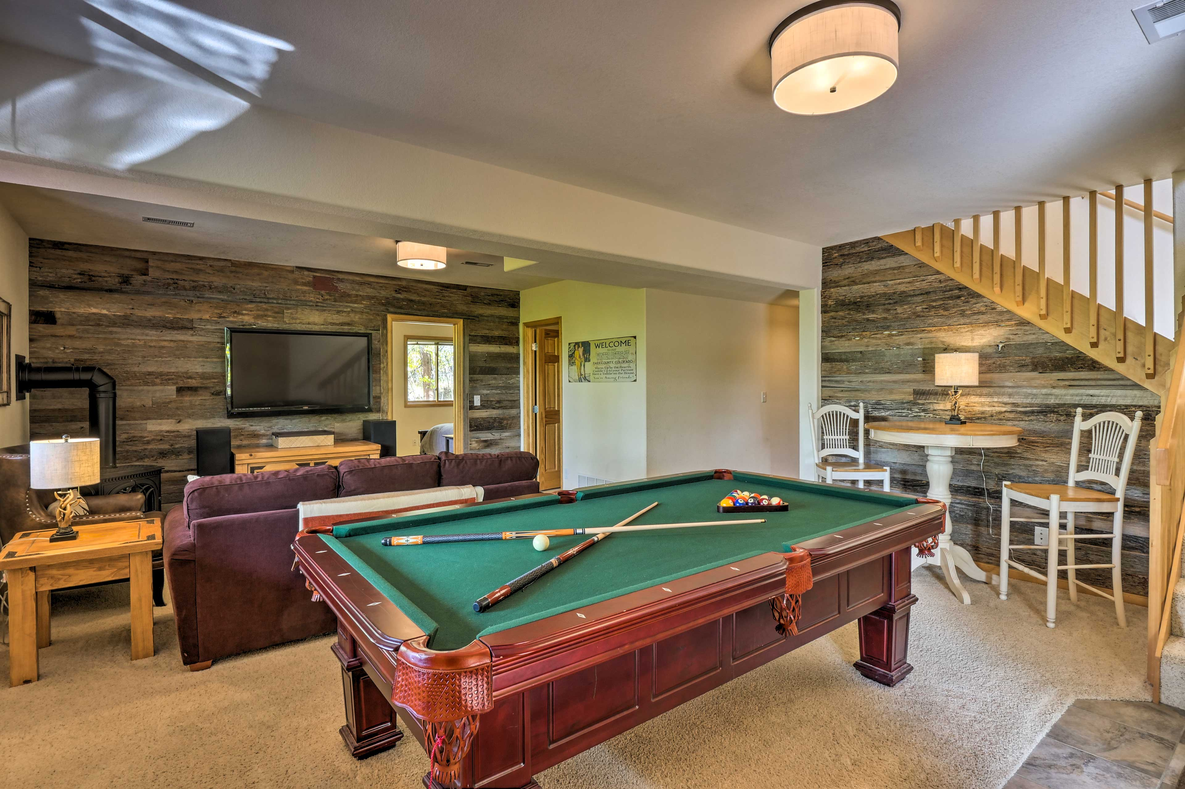Challenge the kiddos to a pool match while watching the big game!