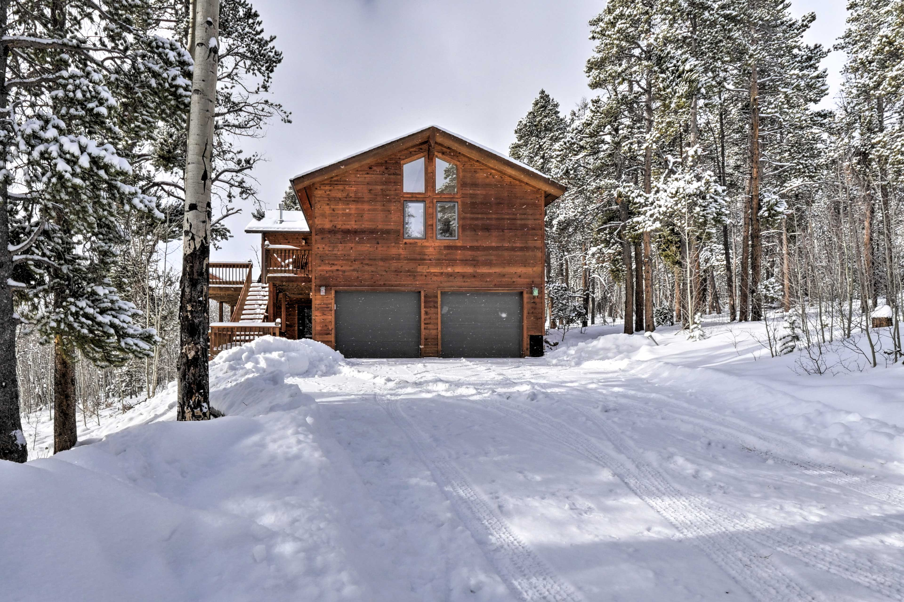 This spacious cabin-style home is on 2.15 acres.