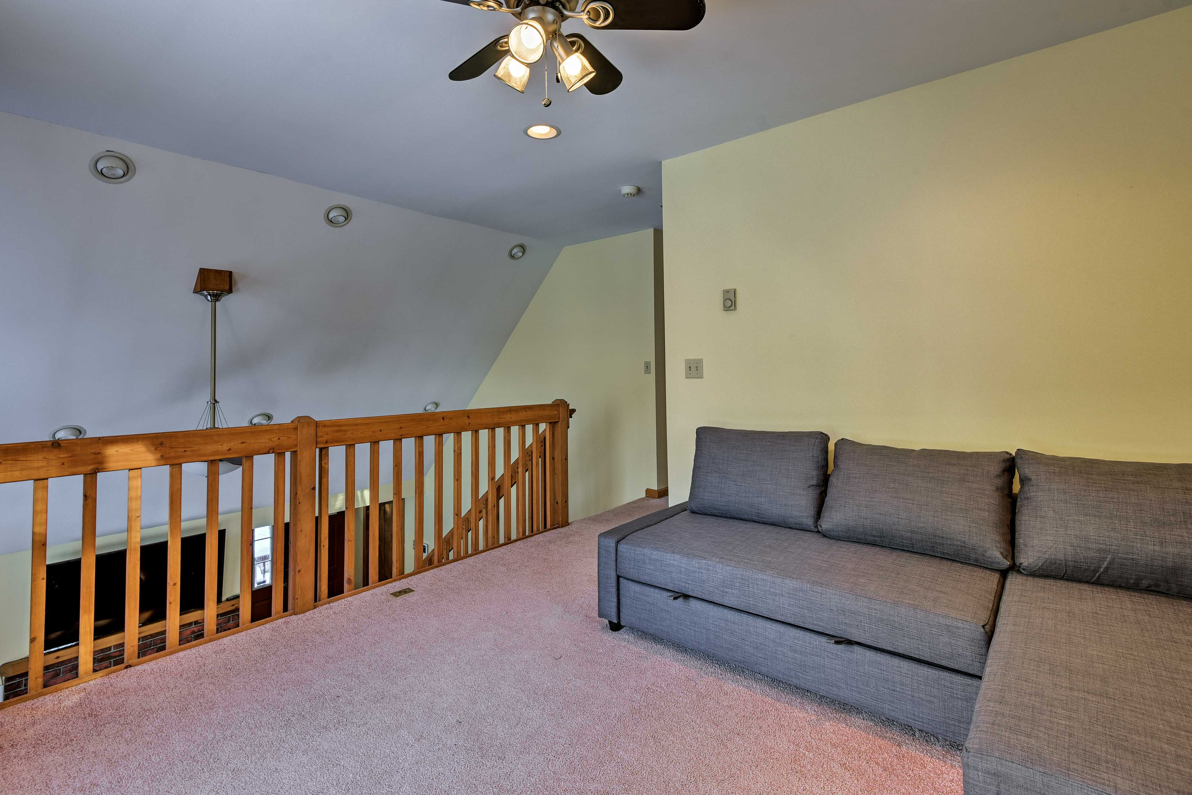 Find extra seating and sleeping space up in the loft.