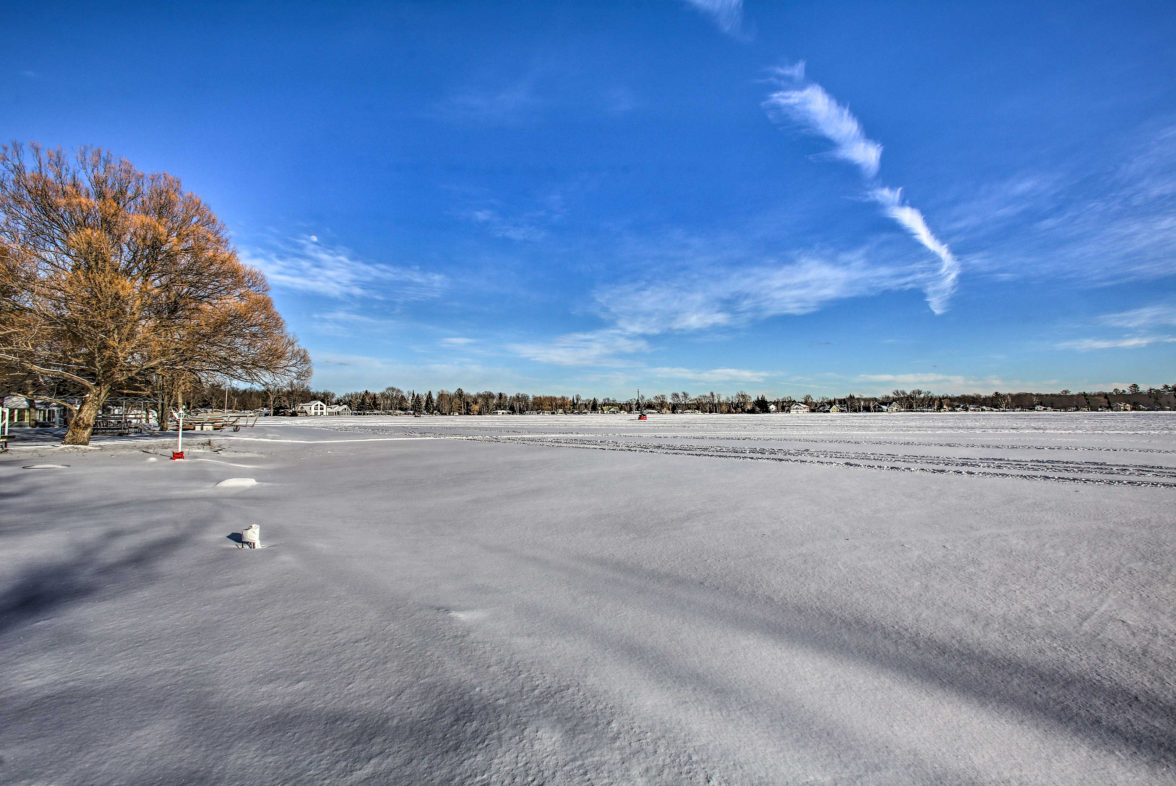 The lake is perfect for some wintertime ice fishing.