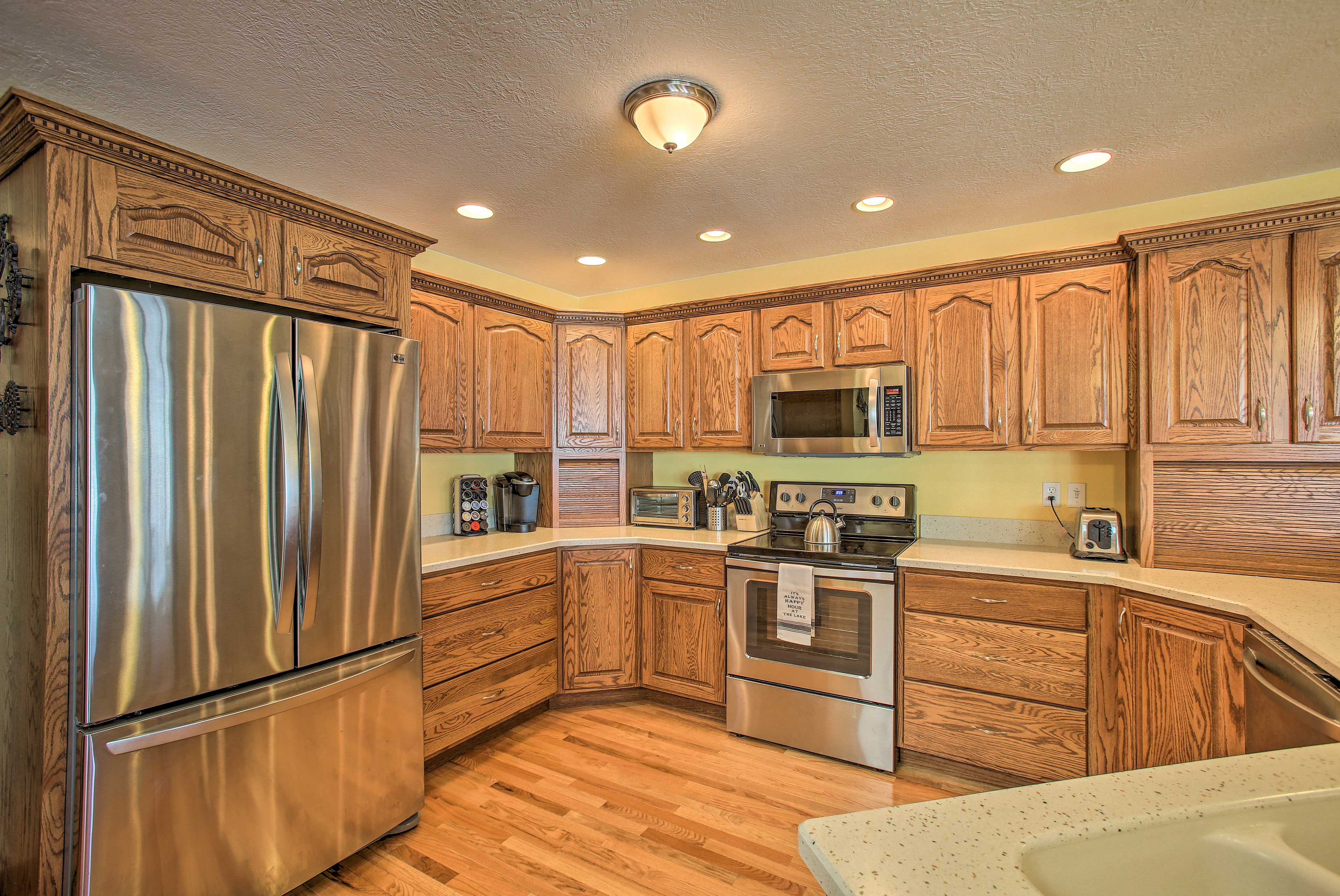 Stainless steel appliances are featured, alongside other essentials.