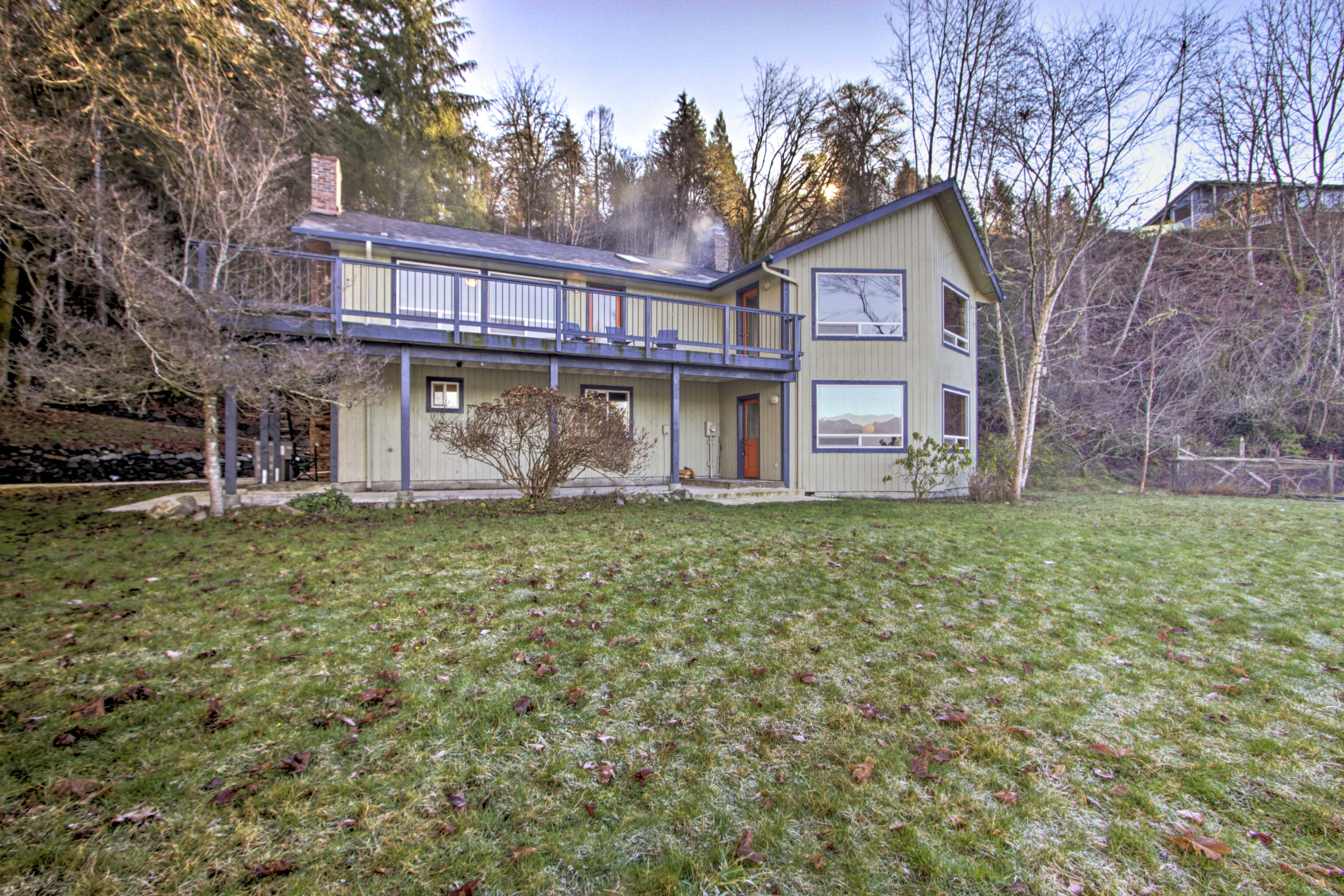 The spacious home boasts 3 bedrooms, 3.5 baths, a deck and covered patio.