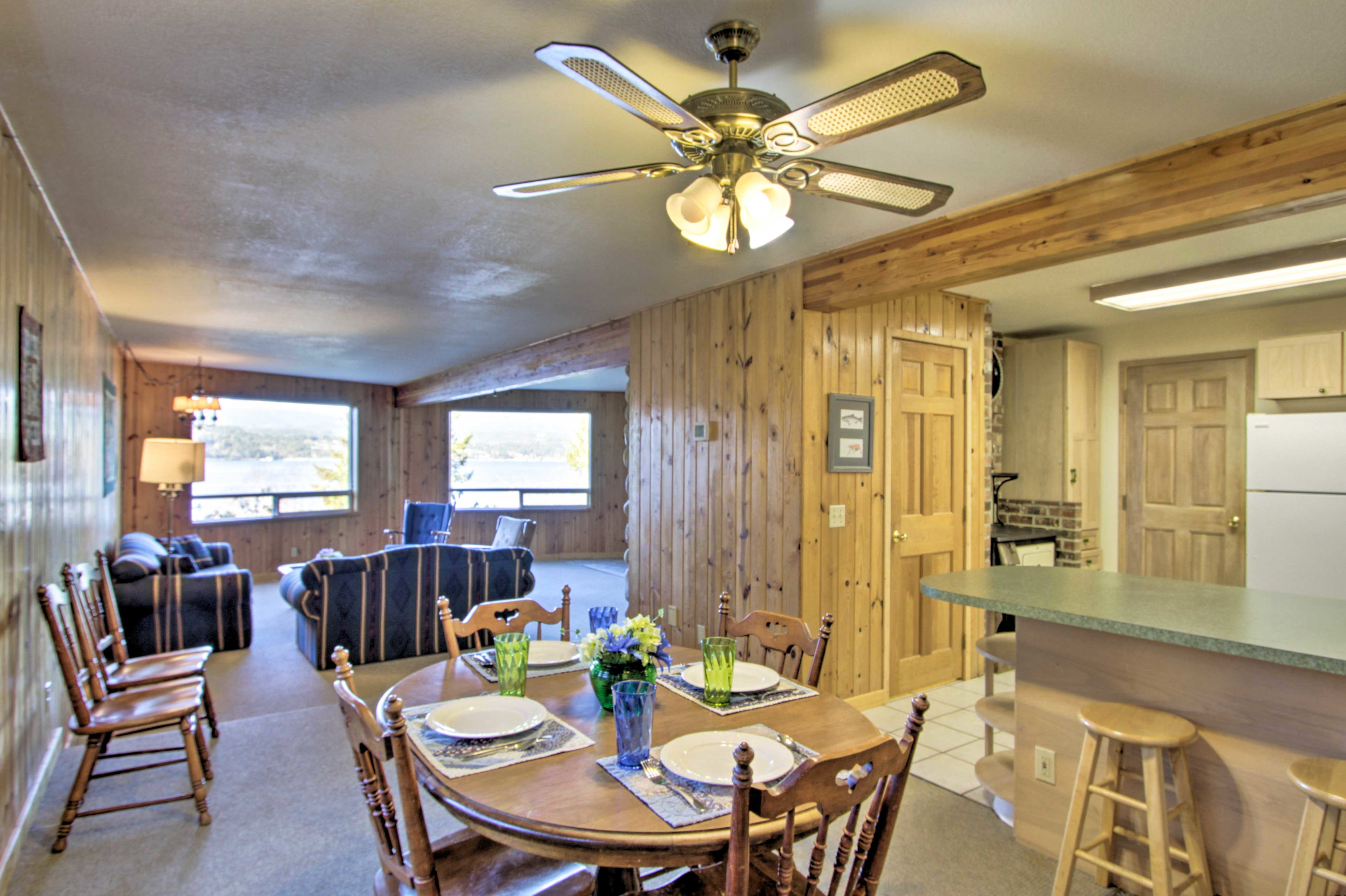 The kitchen and dining area is just steps away.