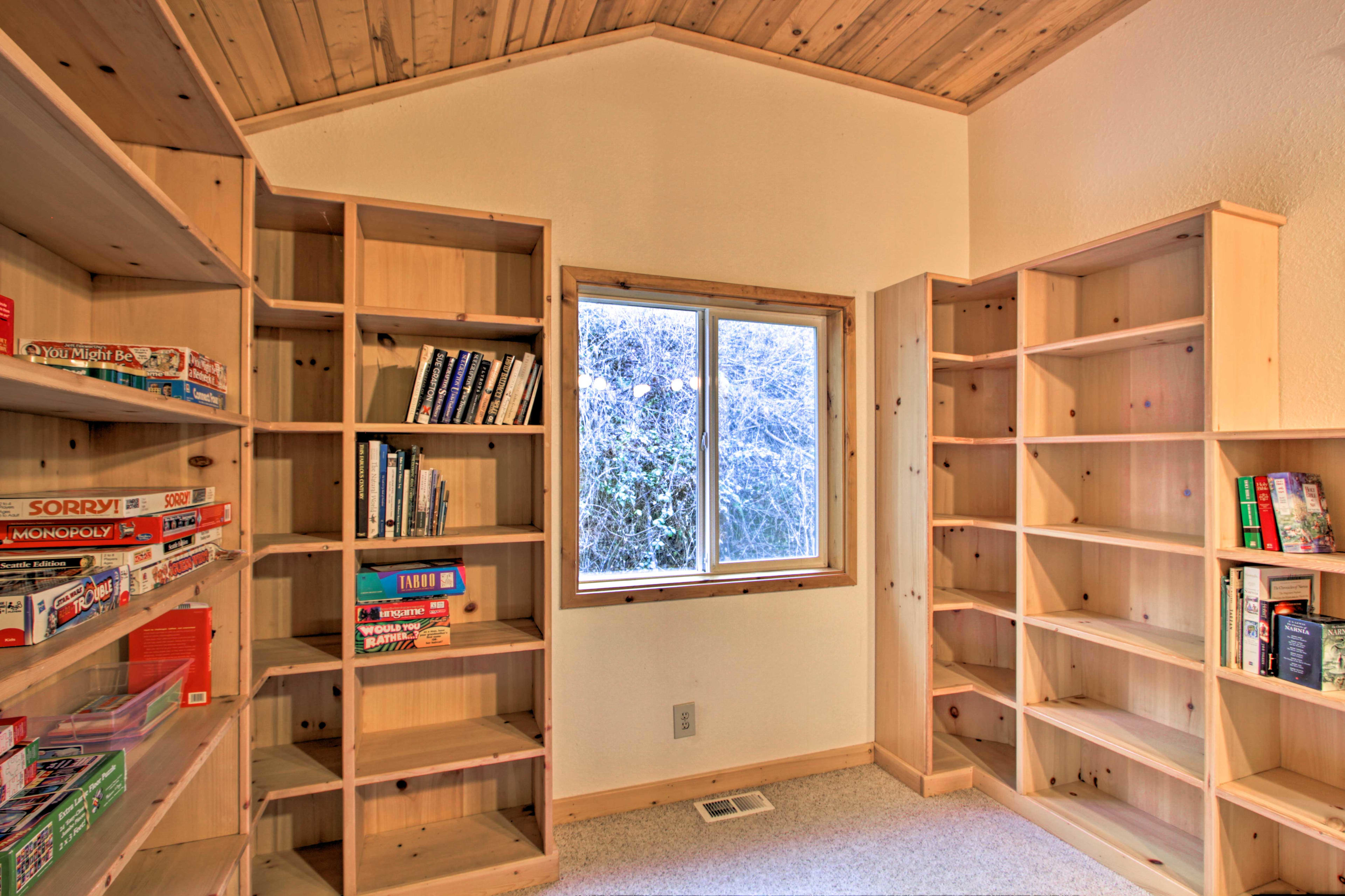 Play some of the provided board games, or curl up to read one of the books!