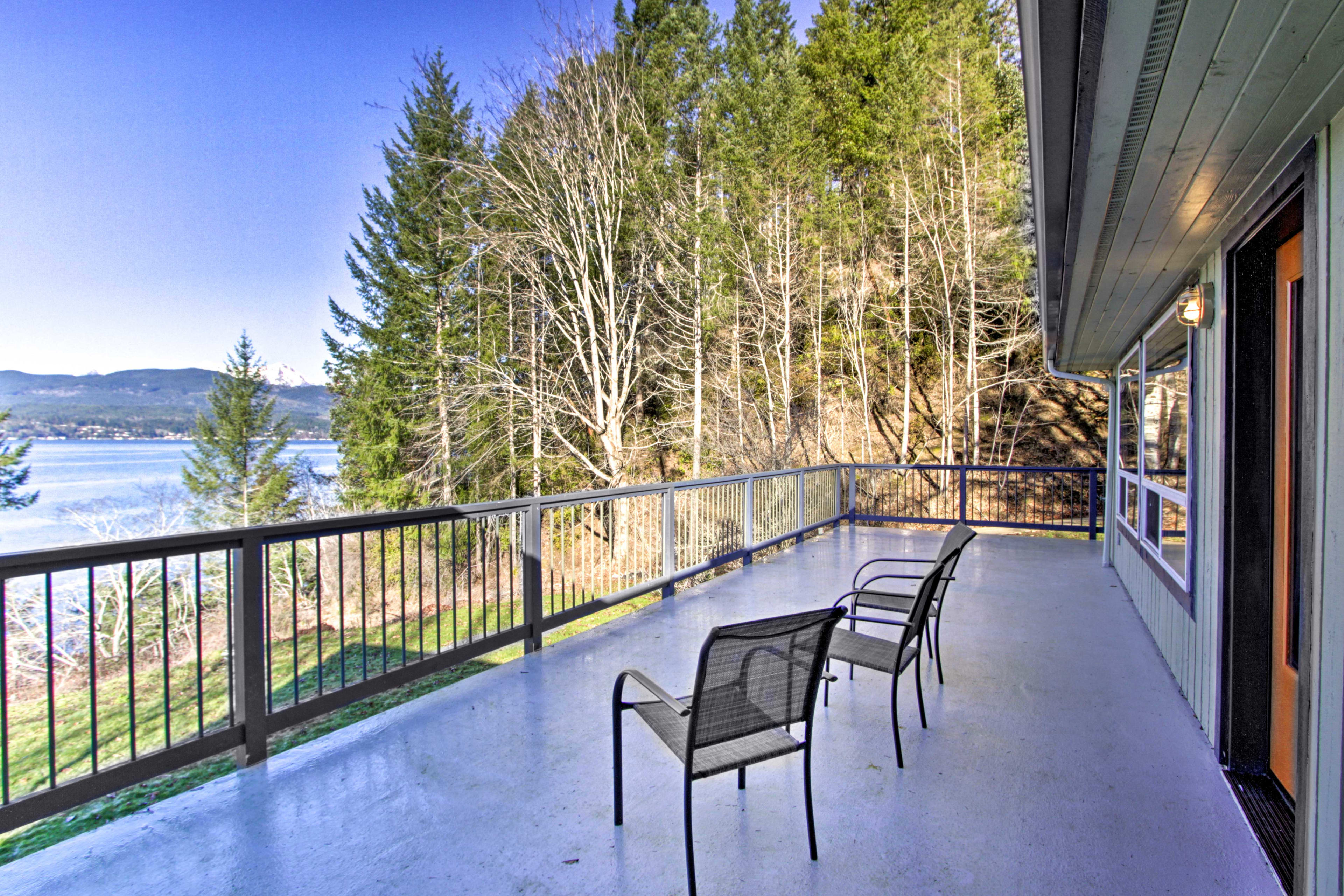 Stunning views and fresh mountain air await on the deck.